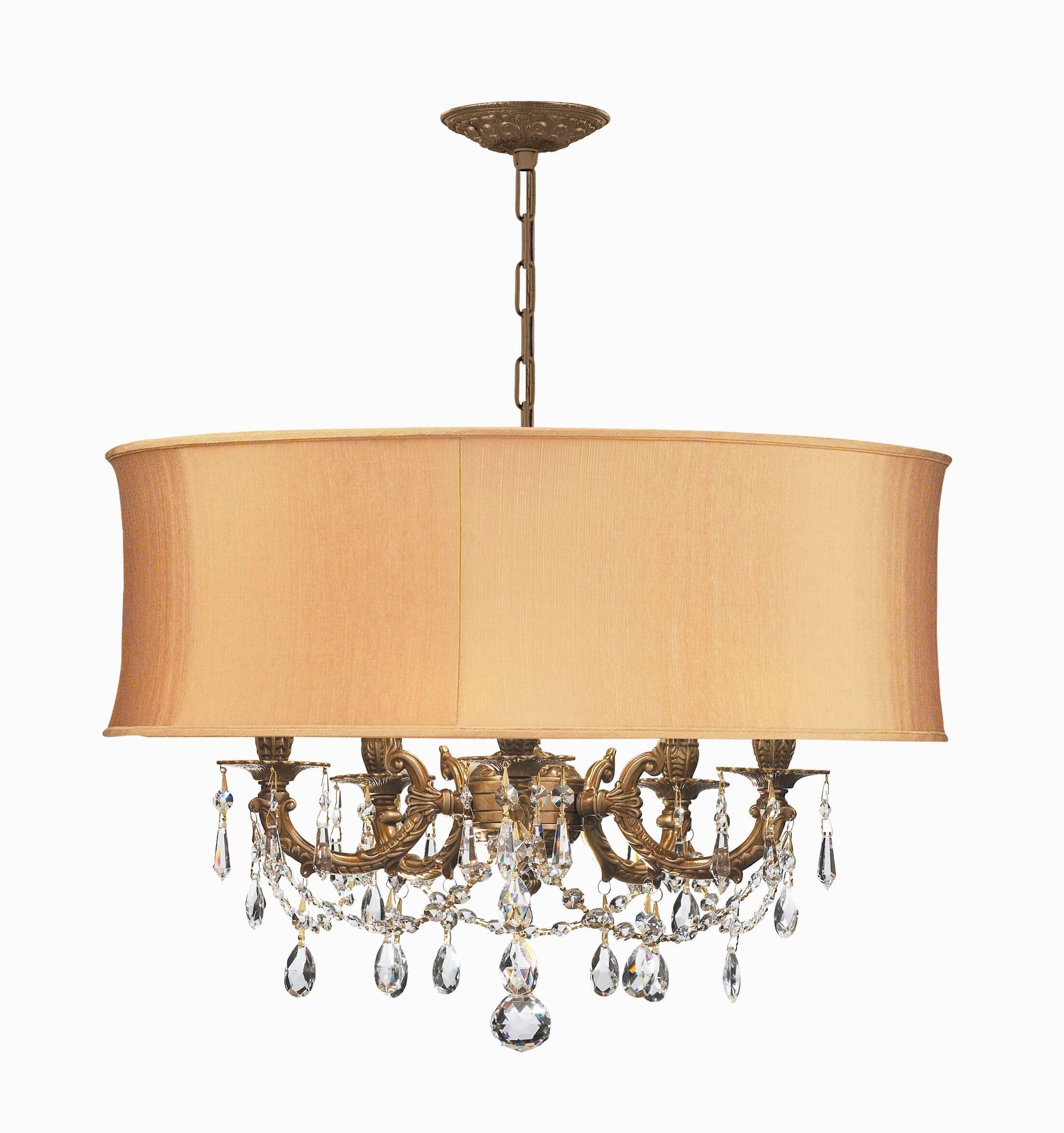 Corrinne Modern 5-Light Chandelier Finish: Aged Brass, Crystal Type: Golden Teak Hand Polished, Shade: Harvest Gold