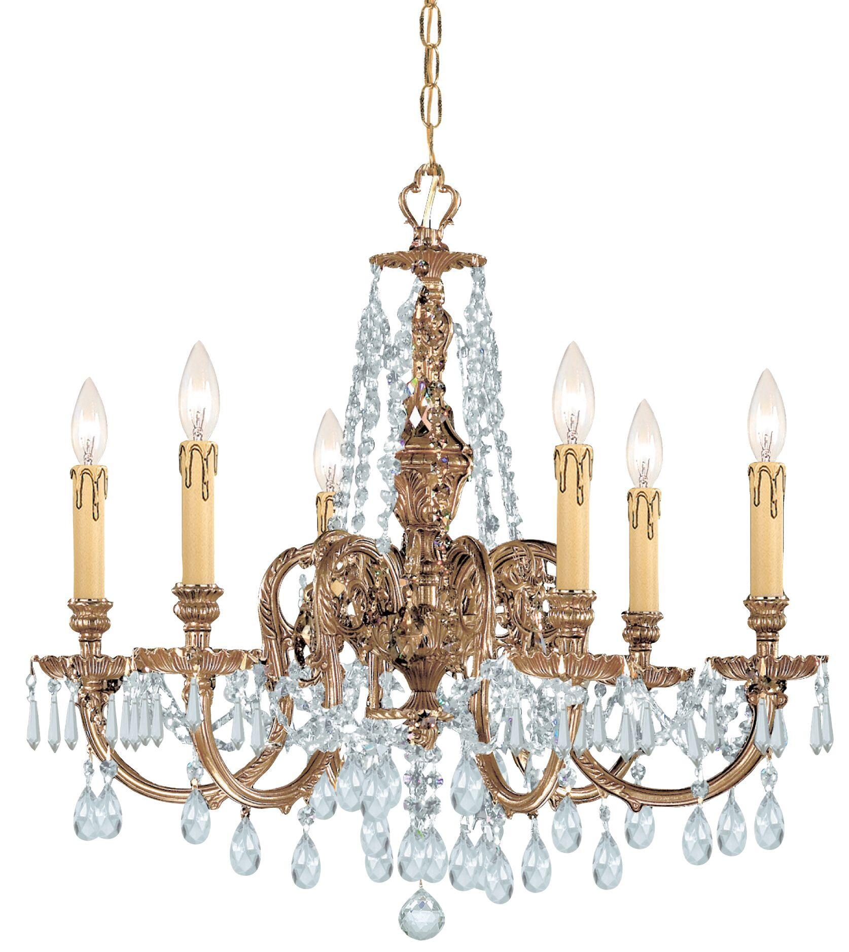 Aureolin 6-Light Crystal Chandelier Crystal Type: Swarovski Strass
