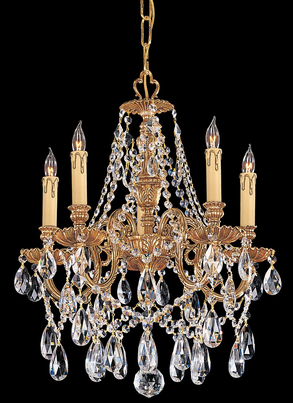 Aureolin 5-Light Crystal Chandelier Crystal Type: Majestic Wood Polished