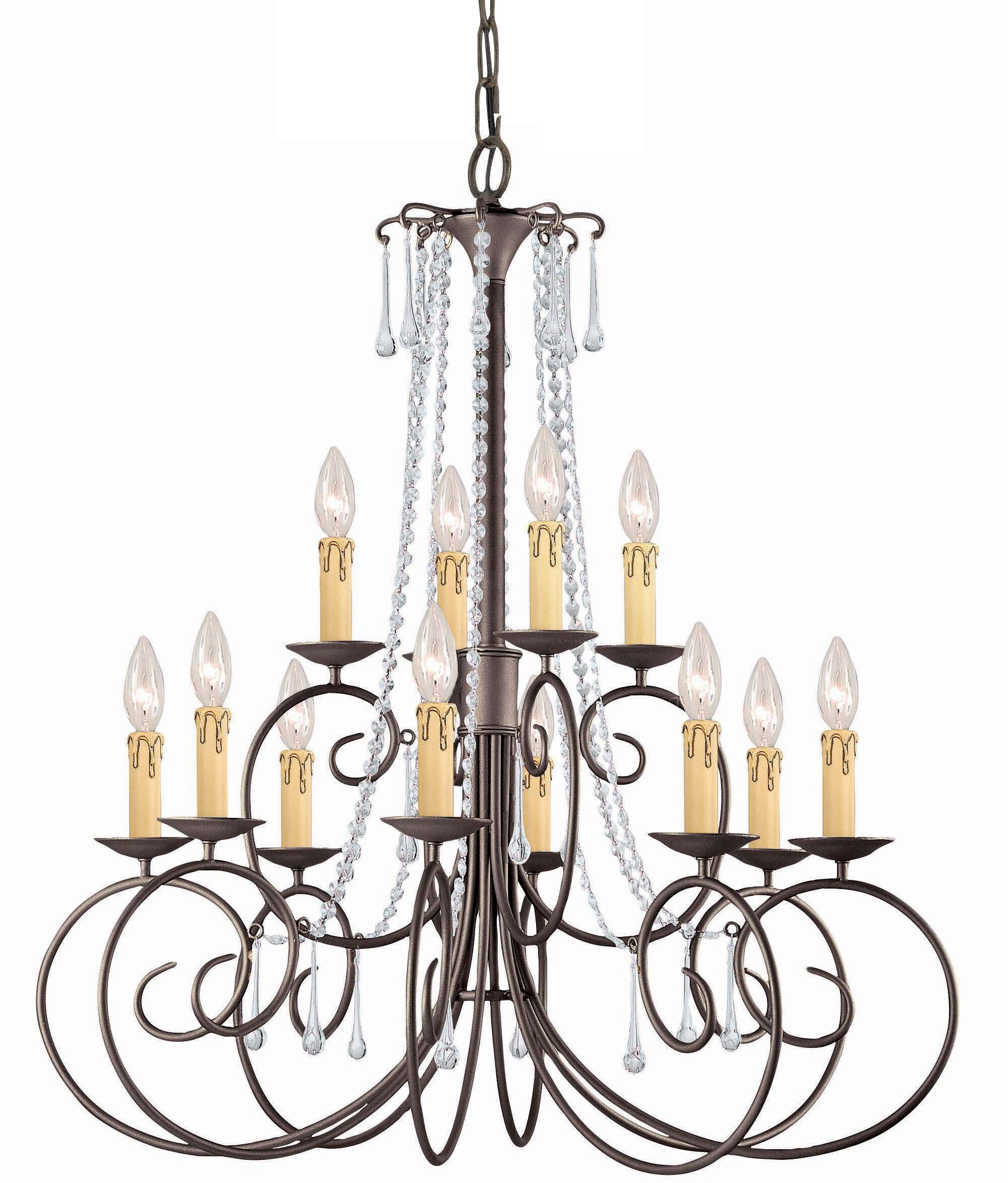 Features: -Fixture Design: Candle Style.-Number of Lights: 12.-Number of Tiers: 2.-Finish: Dark rust.-Style: Traditional.-Shade Included: No -Shade Color: .-Shade Material: ..-Primary Material: Metal.-Dry, Damp or Wet Location Listed: Dry.-Bulb Includ...