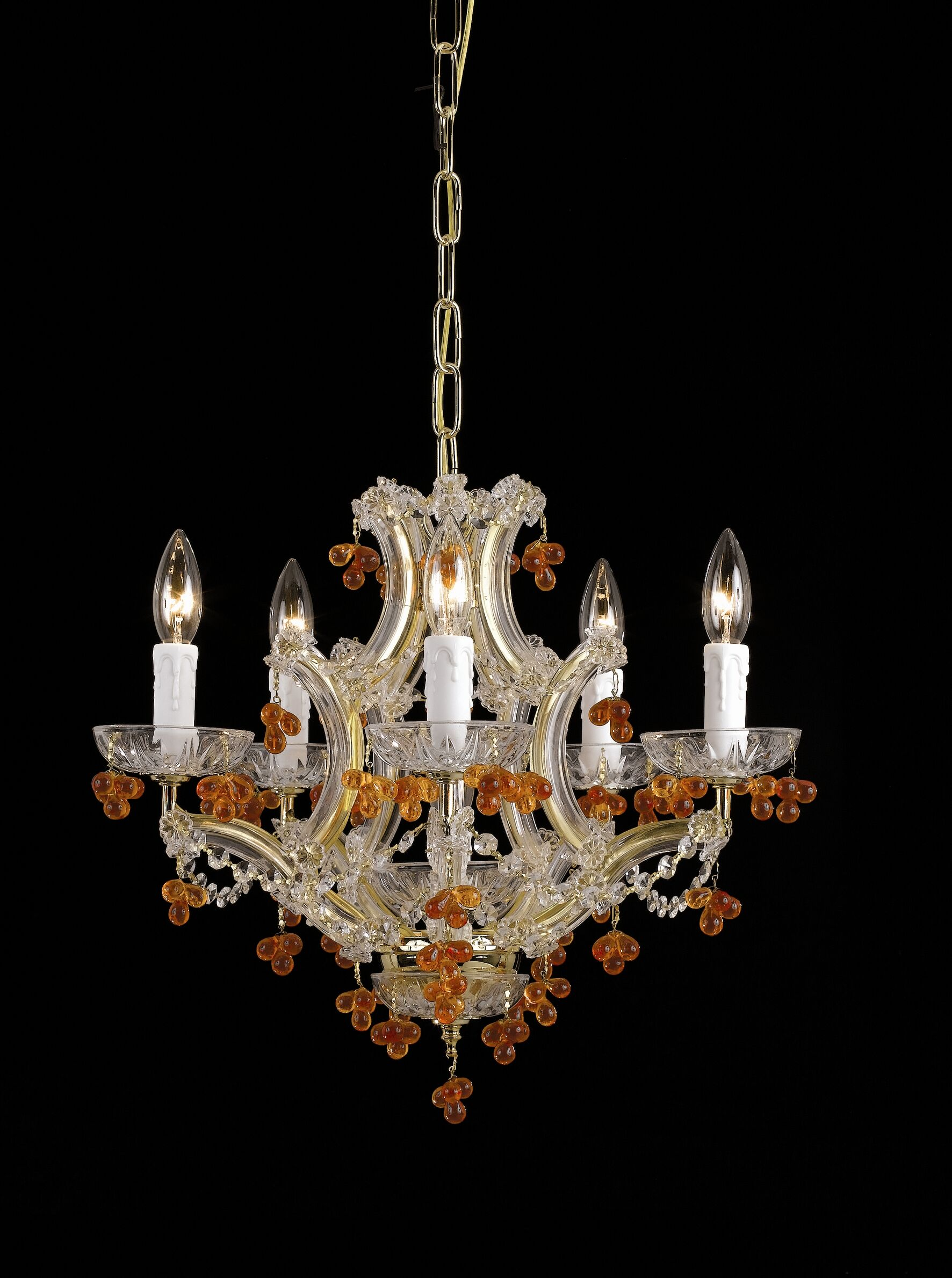Mailloux 5-Light Chandelier Crystal Color: Amber, Finish: Polished Brass
