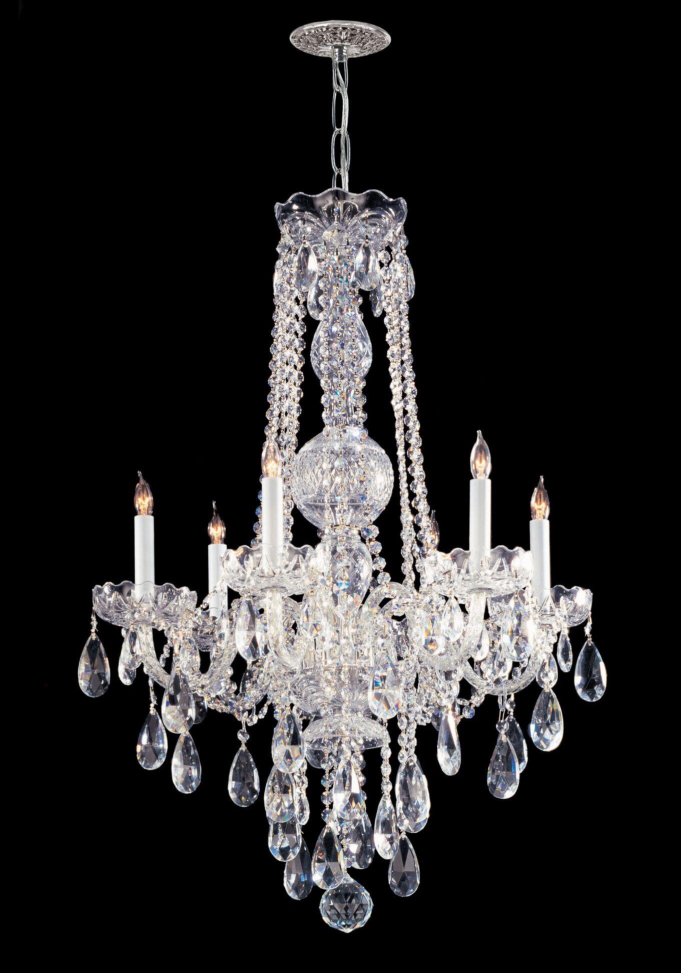 Careen 6-Light Candle Style Chandelier Crystal Type: Swarovski Strass, Finish: Polished Chrome