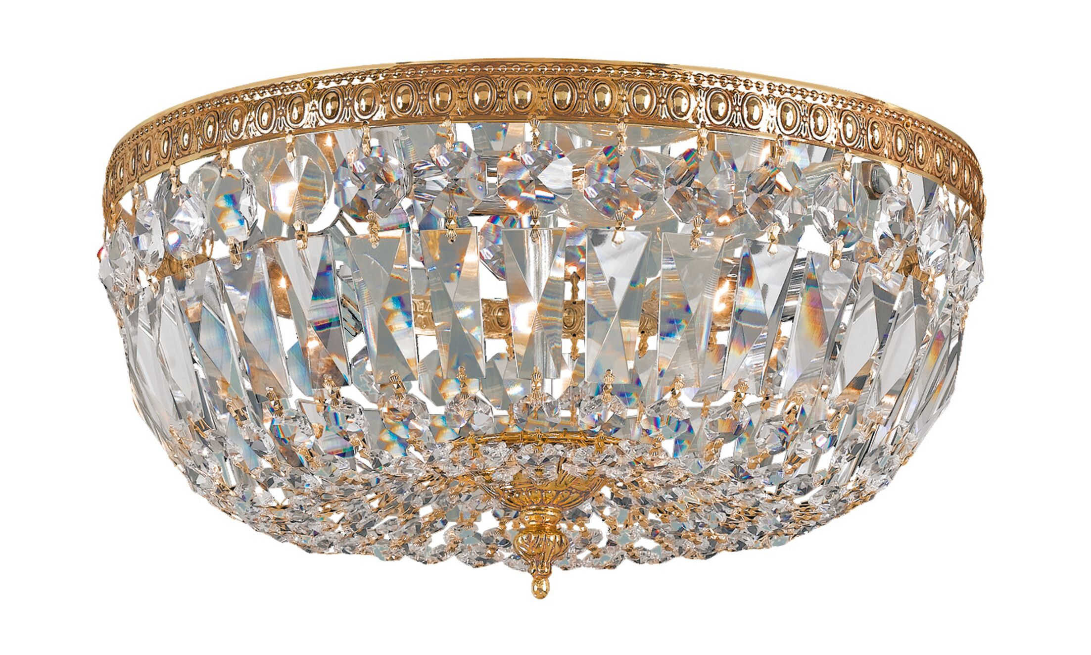 Waddell Crystal 3-Light Flush Mount Crystal: Hand Polished