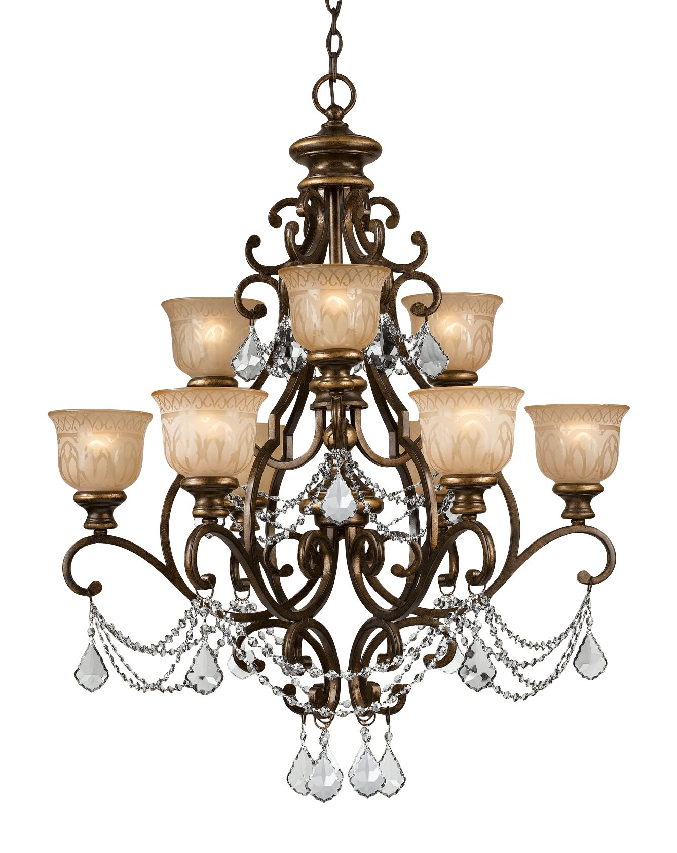 Tusten 9-Light Shaded Chandelier Crystal Type: Majestic Wood Hand Polished