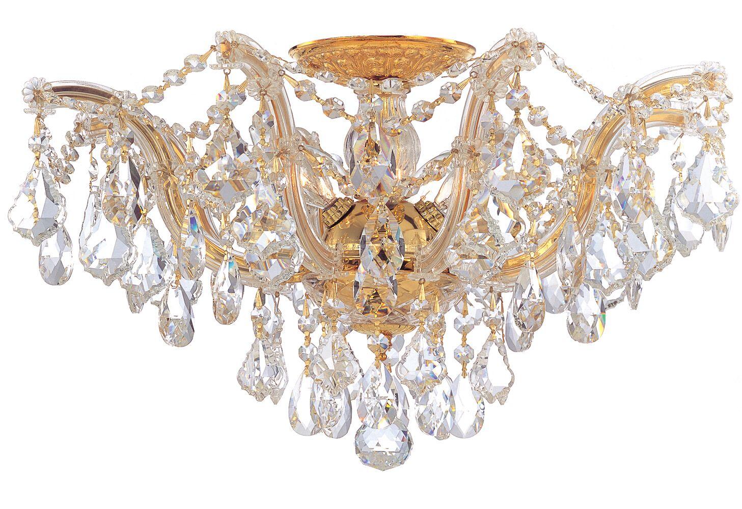 Griffiths 5-Light Semi Flush Mount Crystal Type: Swarovski Spectra, Finish: Polished Gold