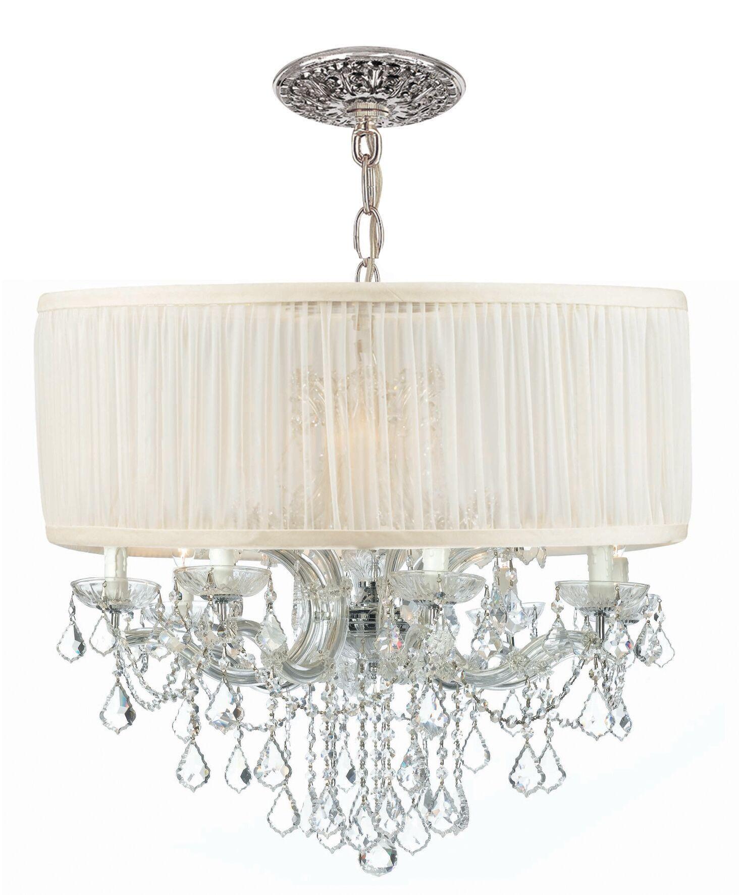 Corrinne Modern 12-Light Chandelier Lamp Shade Color: Antique White, Finish: Chrome
