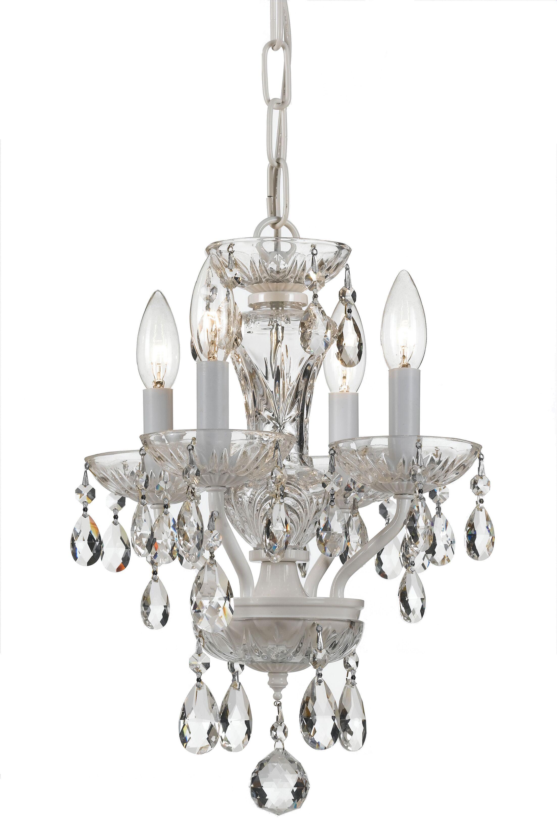 Weigel 4-Light Candle Style Chandelier Crystal Grade: Swarovski Spectra, Finish: White