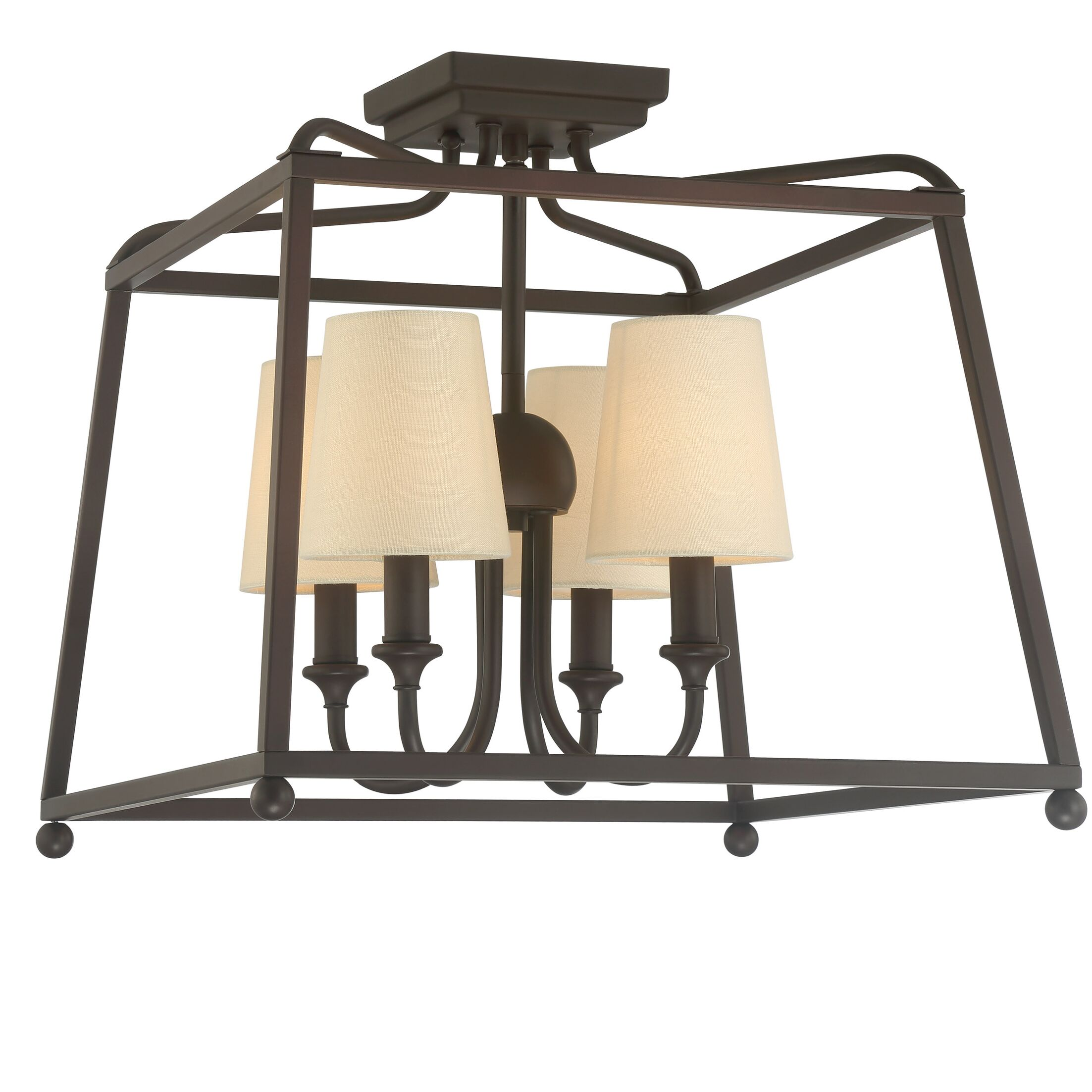 Knighton 4-Light Flush Mount Fixture Finish: Dark Bronze