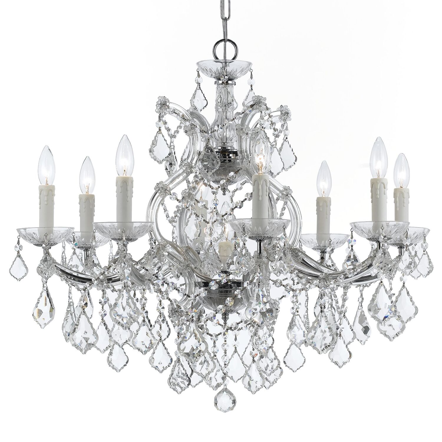 Sagamore Swarovski Strass 9-Light Candle Style Chandelier Finish: Chrome