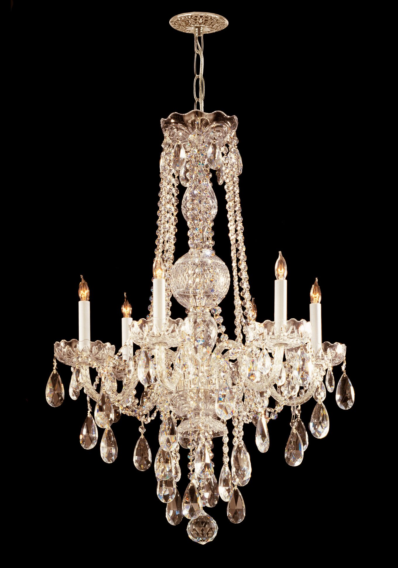 Careen 6-Light Candle Style Chandelier Crystal Type: Hand Polished, Finish: Polished Brass