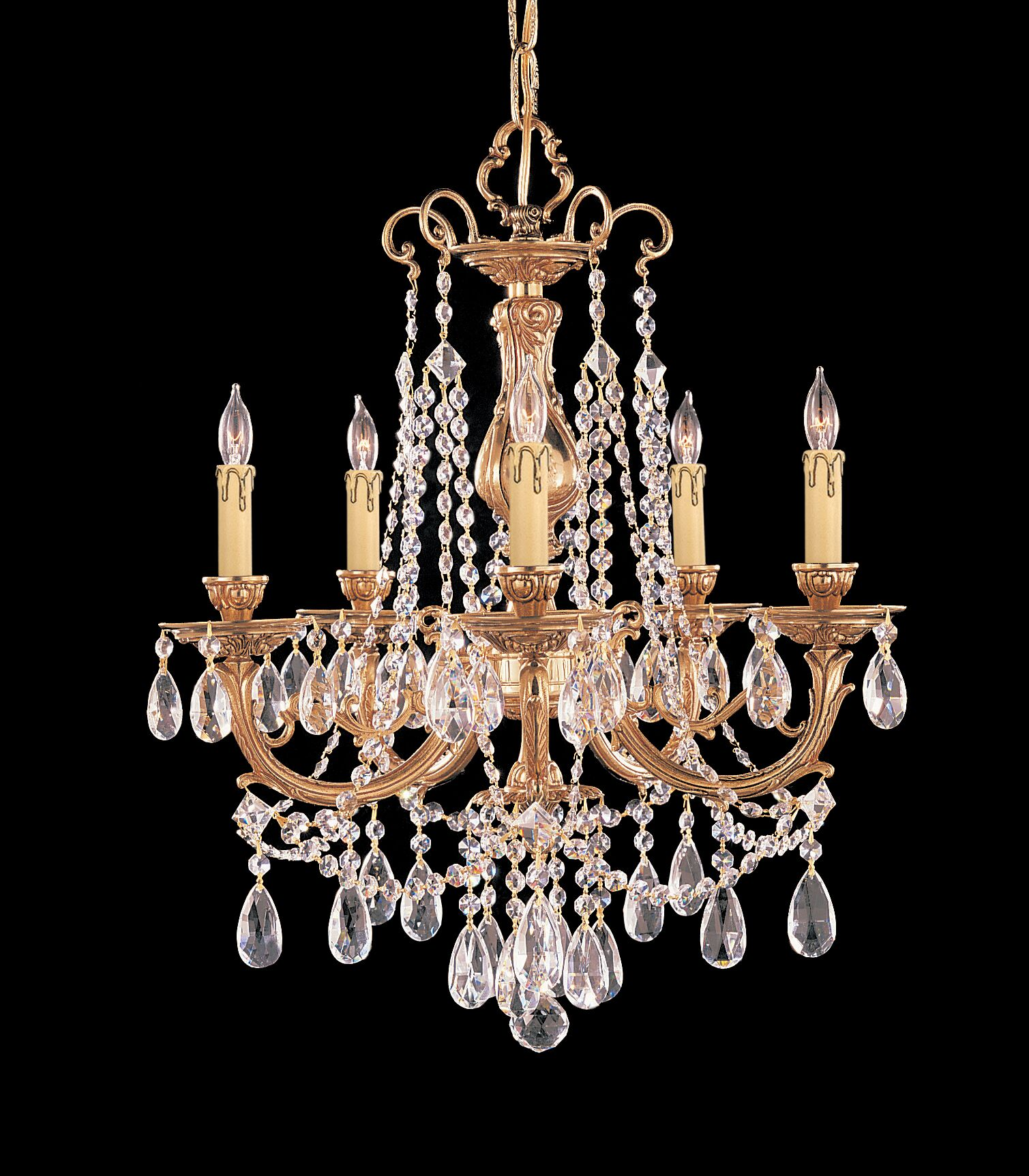 Aureolin 5-Light Crystal Chandelier Crystal: Swarovski Strass