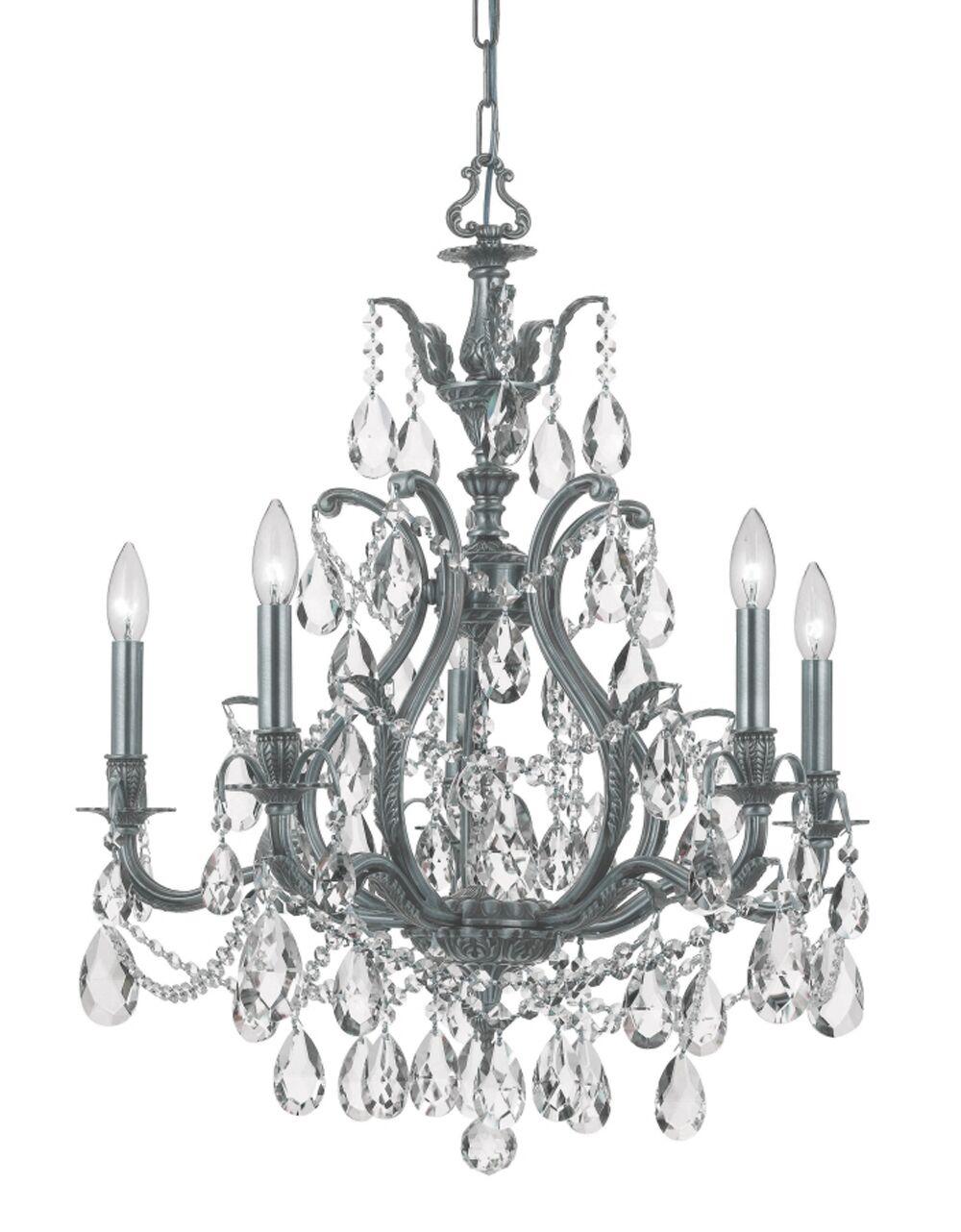Dawson 5-Light Candle Style Chandelier Crystal Type: Swarovski Elements, Finish: Pewter