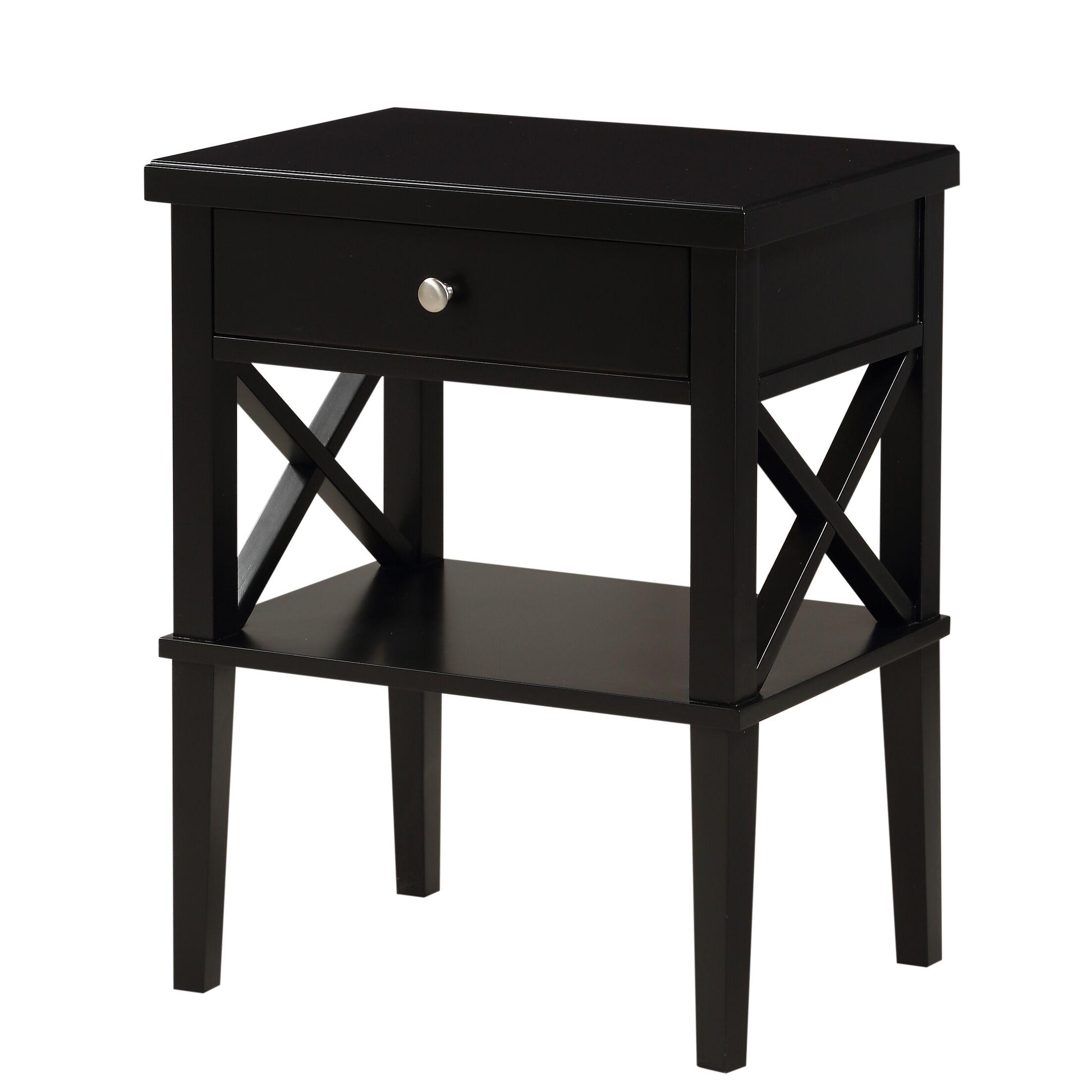 Silvestri 1 Drawer Nightstand Color: Black