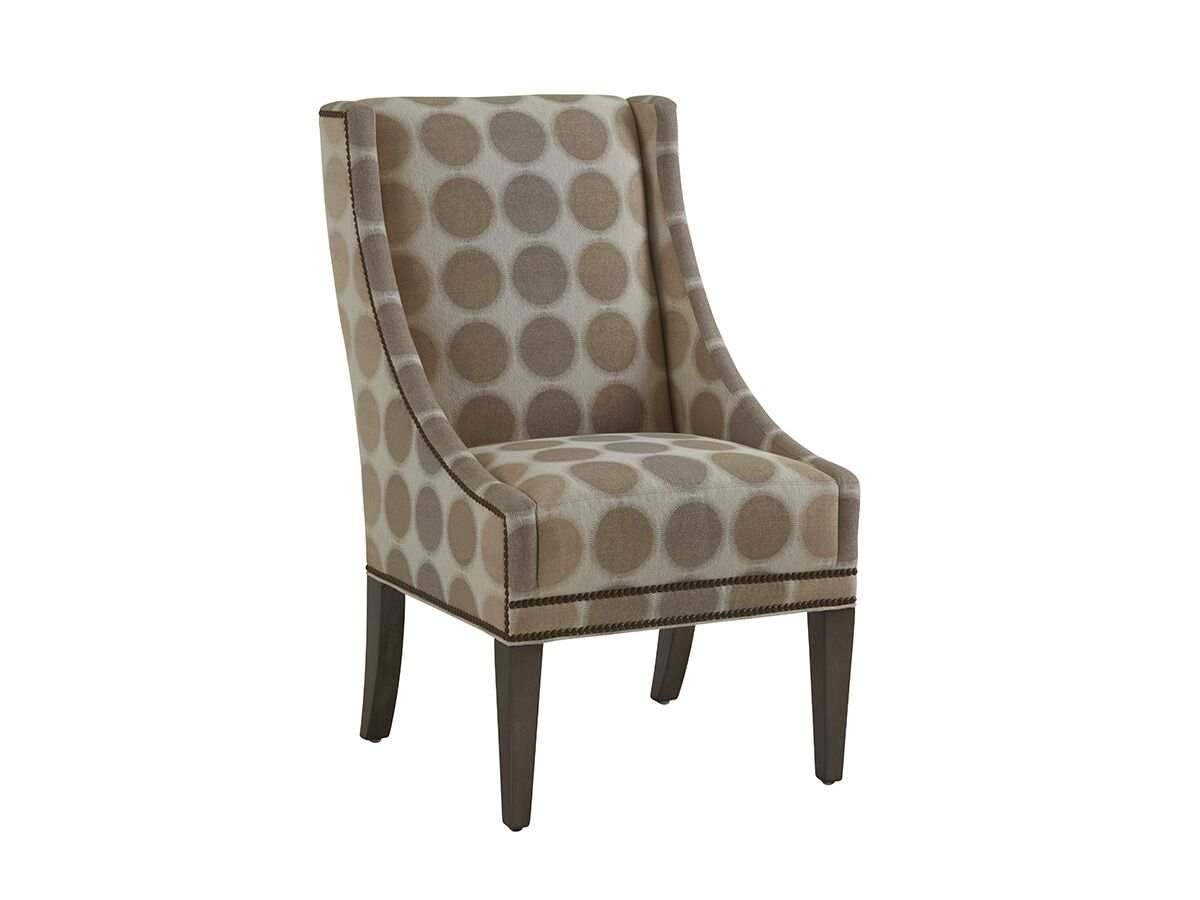 Monterey Sands Upholstered Dining Chair Upholstery Color: Brown/Gray, Leg Color: Brown, Nailhead Color: Brown