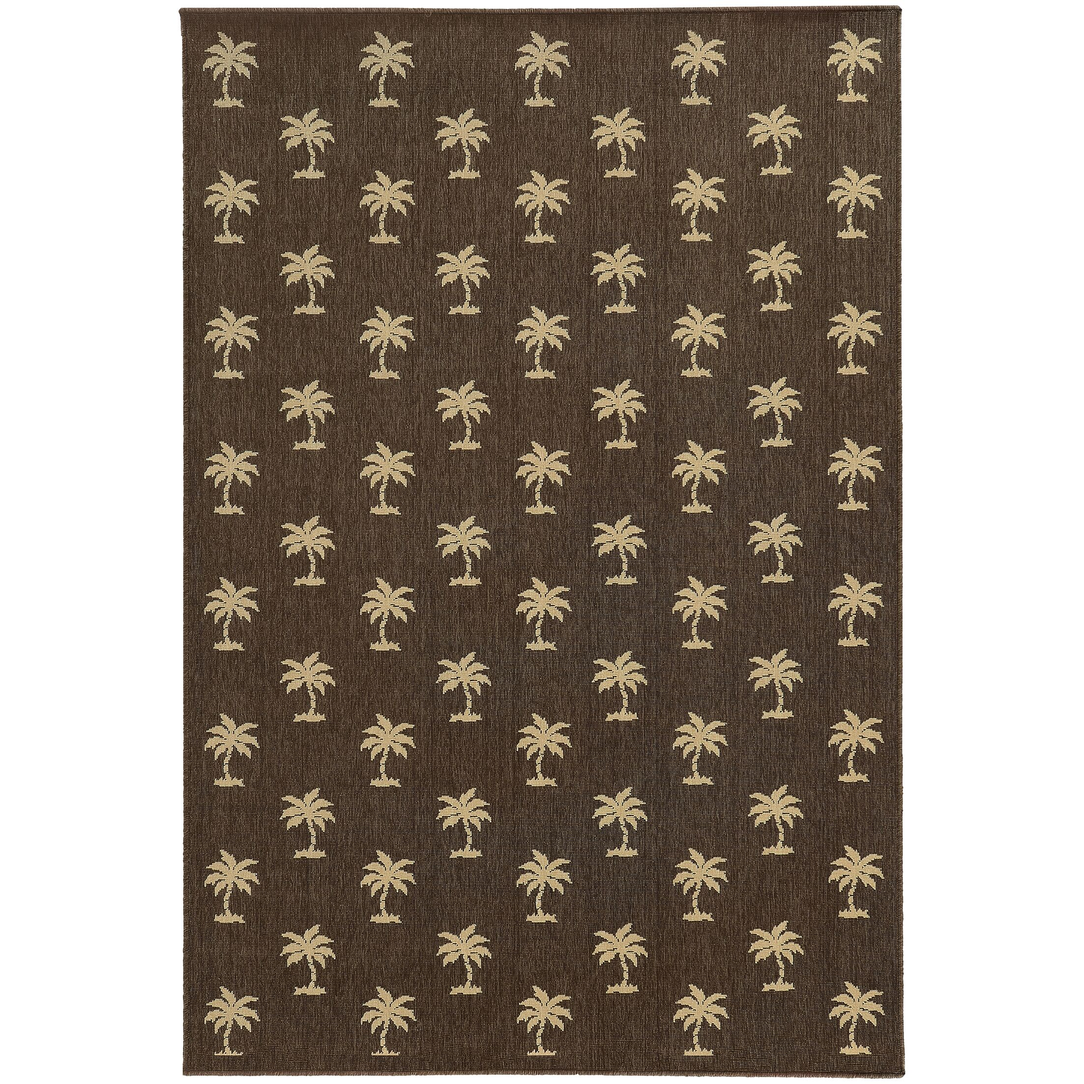 Seaside Brown & Beige Area Rug Rug Size: Rectangle 6'7