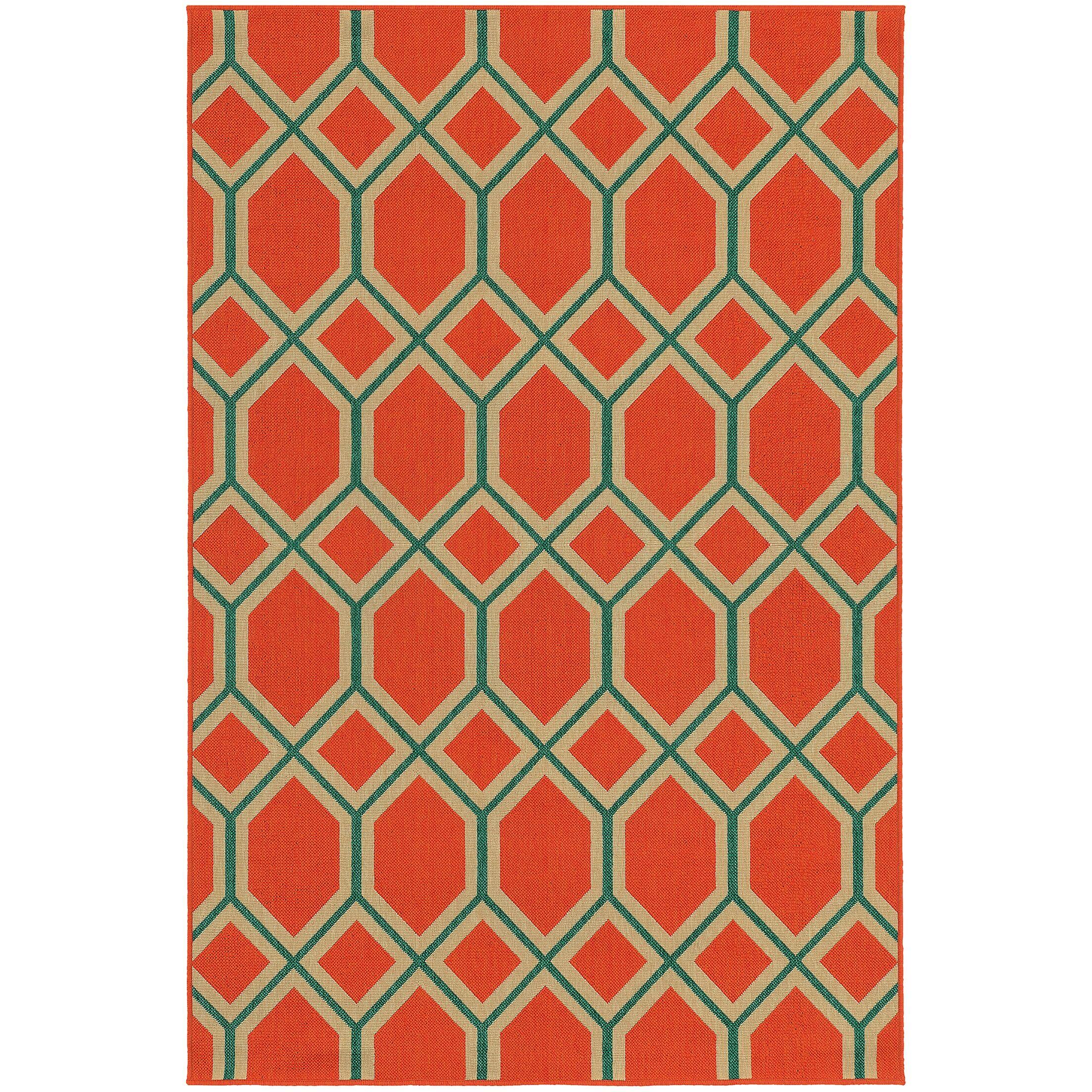 Seaside Orange/Teal Indoor/Outdoor Area Rug Rug Size: Rectangle 5'3