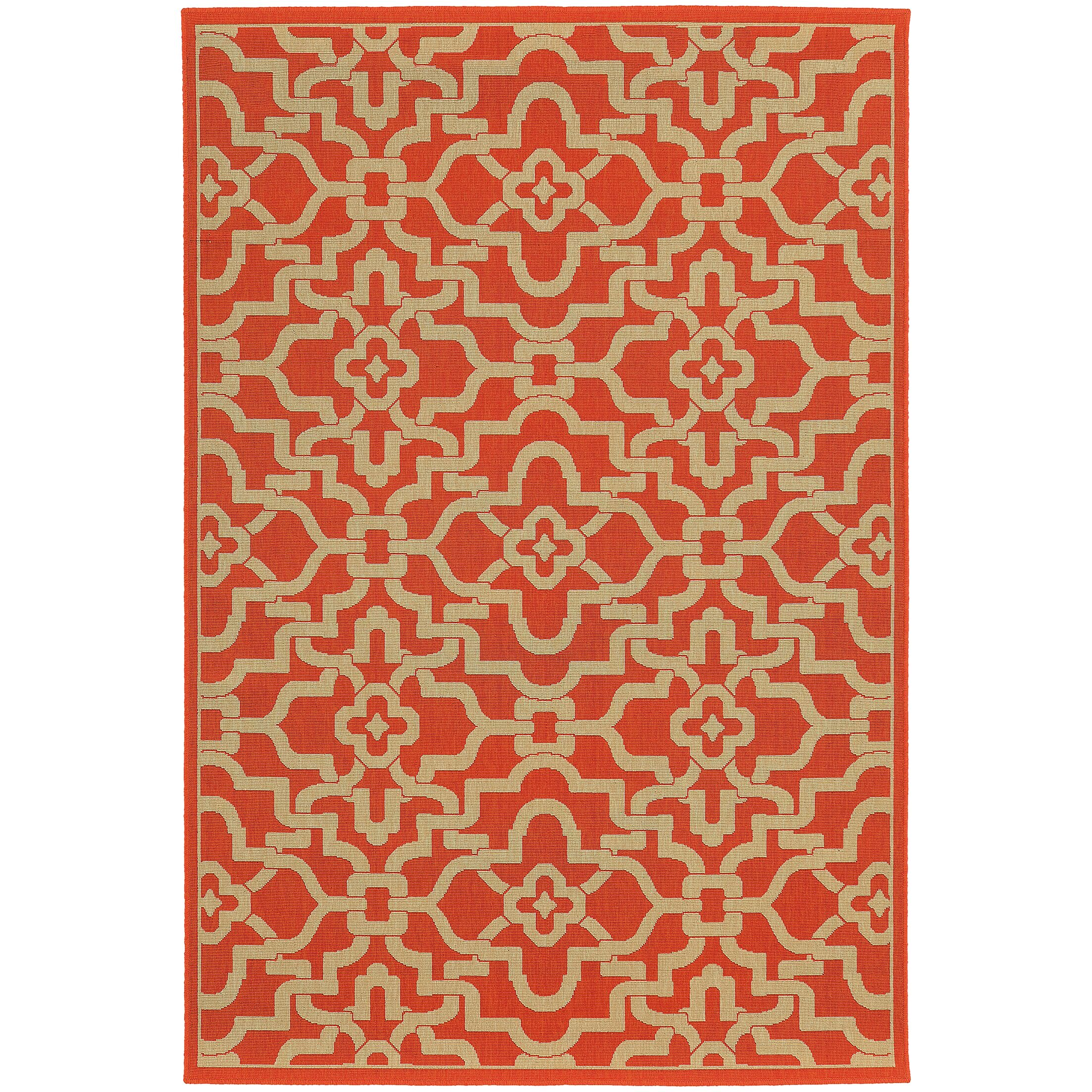 Seaside Orange & Beige Area Rug Rug Size: Round 7'10