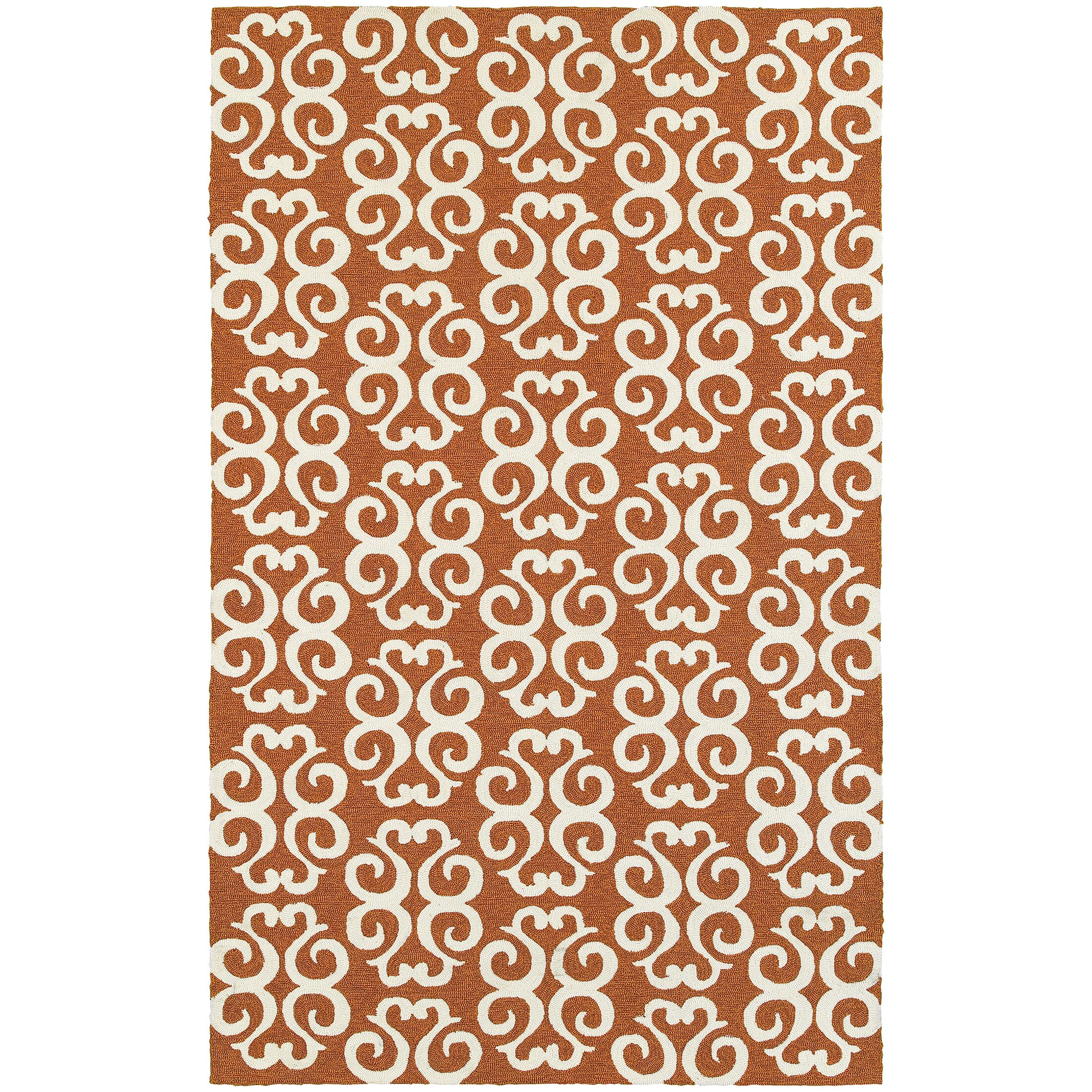 Atrium Scroll Work Brown/Ivory Indoor/Outdoor Area Rug Rug Size: Rectangle 3'6