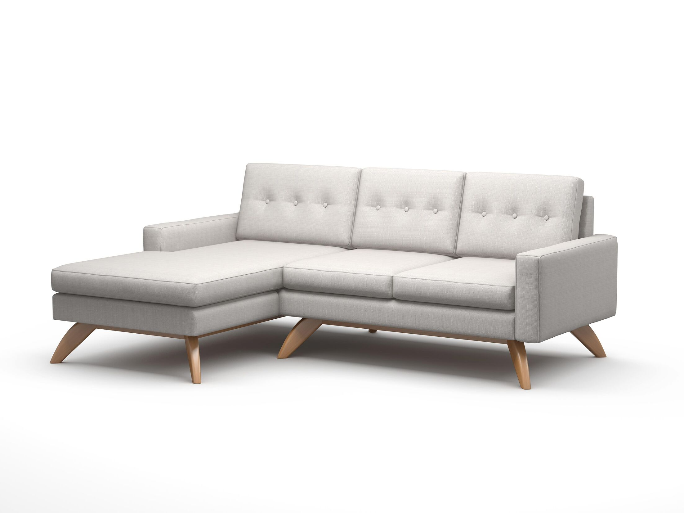 Luna Sofa with Chaise Body Fabric: Klein Dolphin, Leg Color: Espresso, Sectional Orientation: Left Hand Facing