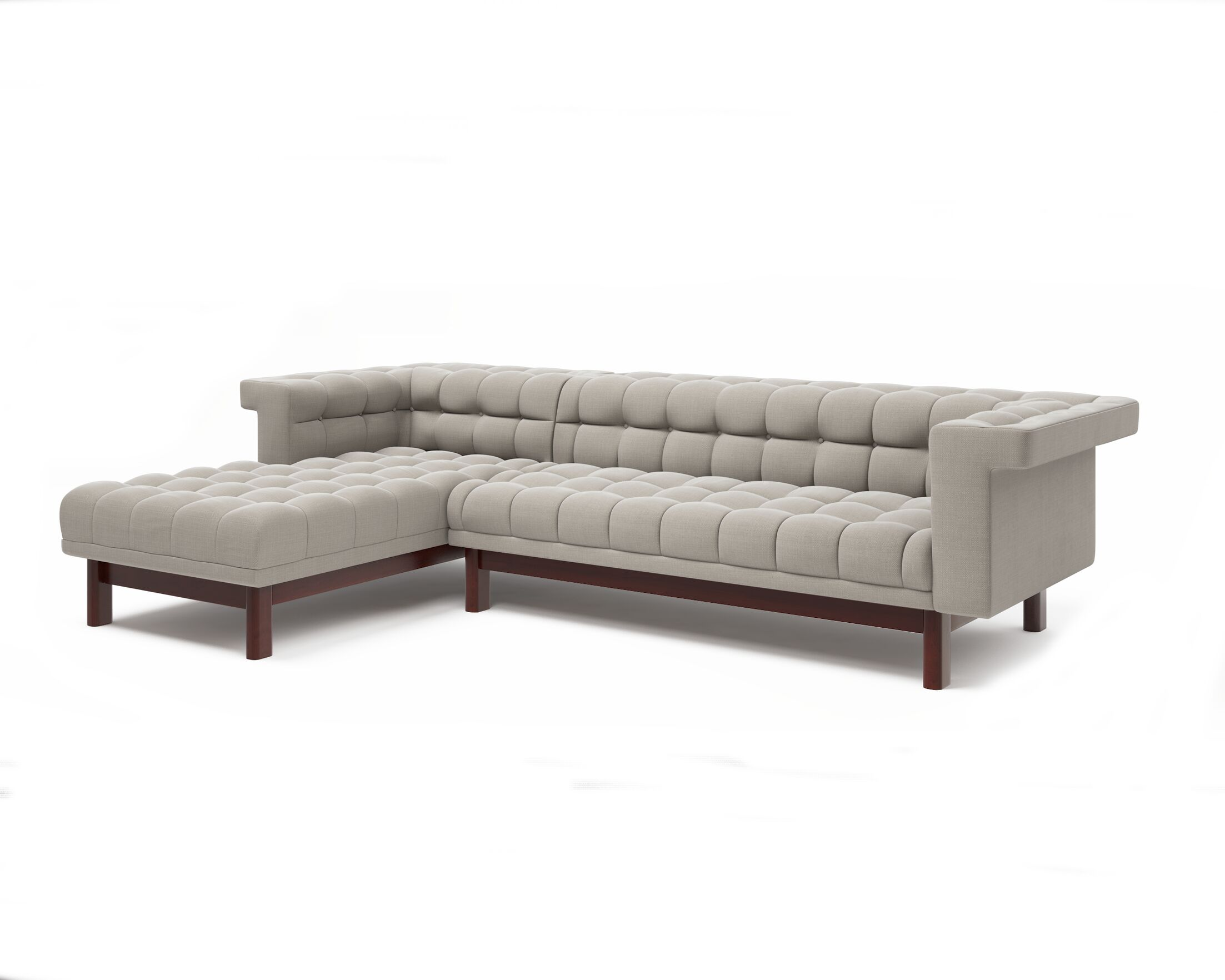 George Sofa with Chaise Body Fabric: Klein Charcoal, Leg Color: Walnut, Sectional Orientation: Right Hand Facing