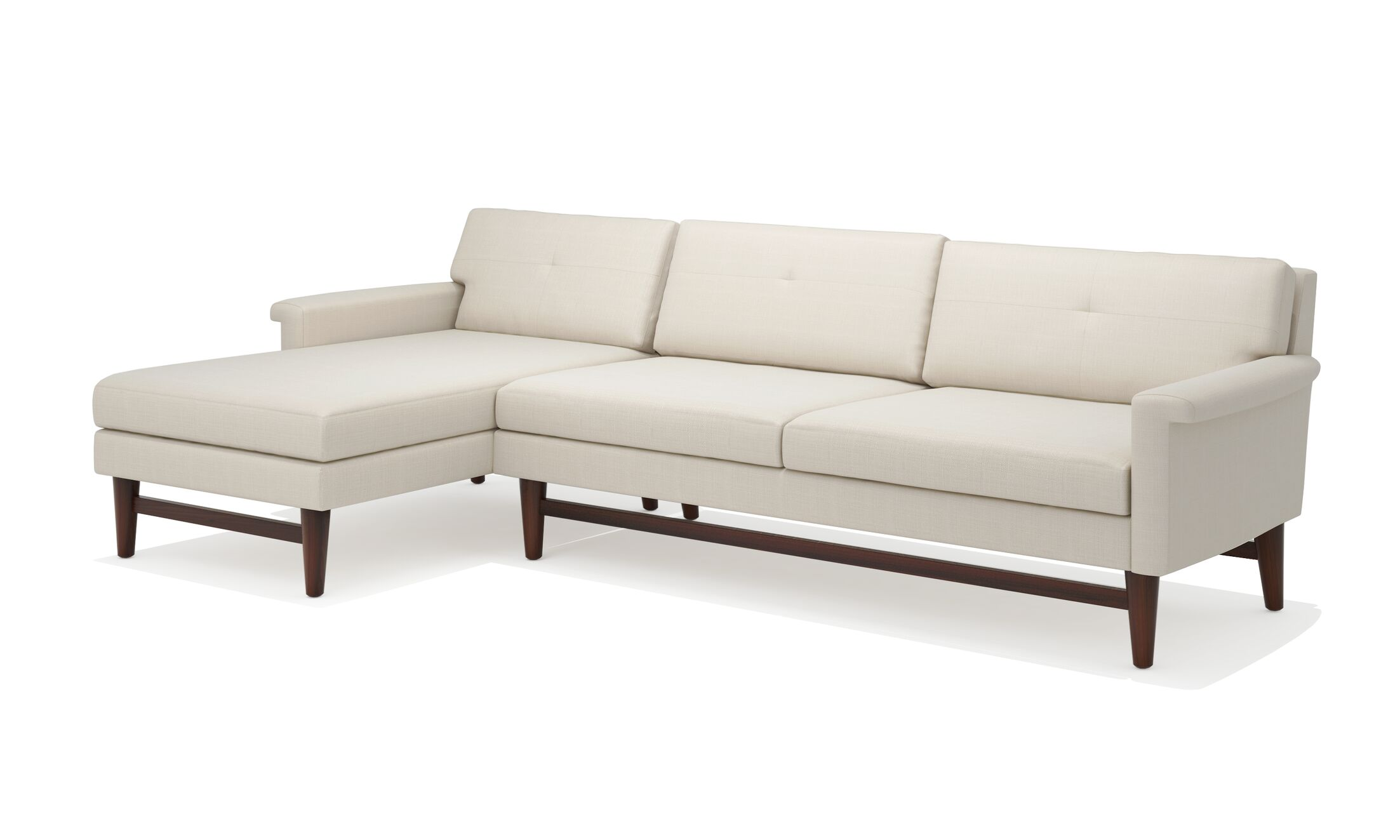 Diggity Sofa with Chaise Body Fabric: Klein Dolphin, Leg Color: Honey, Sectional Orientation: Right Hand Facing