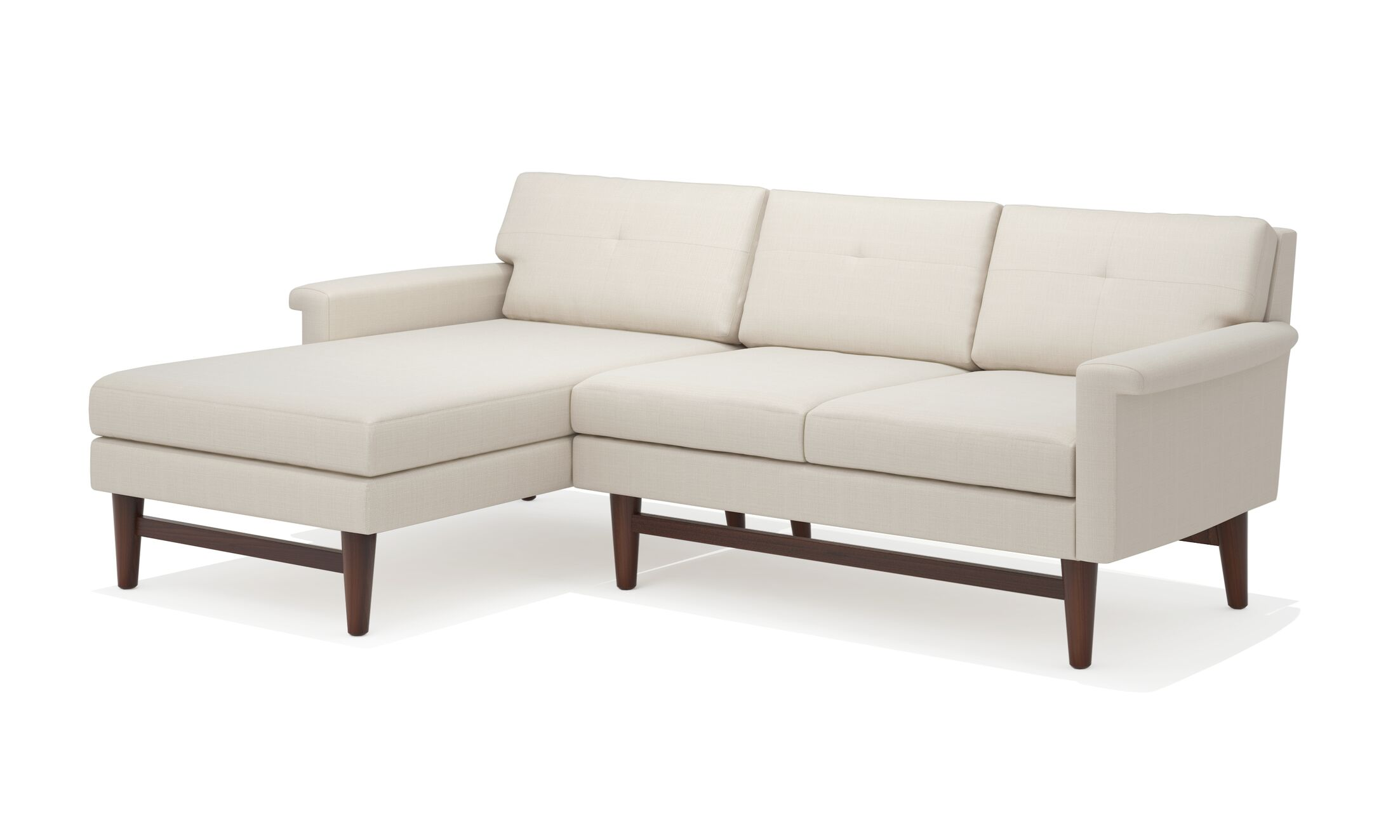 Diggity Sofa with Chaise Body Fabric: Klein Dolphin, Leg Color: Natural Walnut, Sectional Orientation: Left Hand Facing