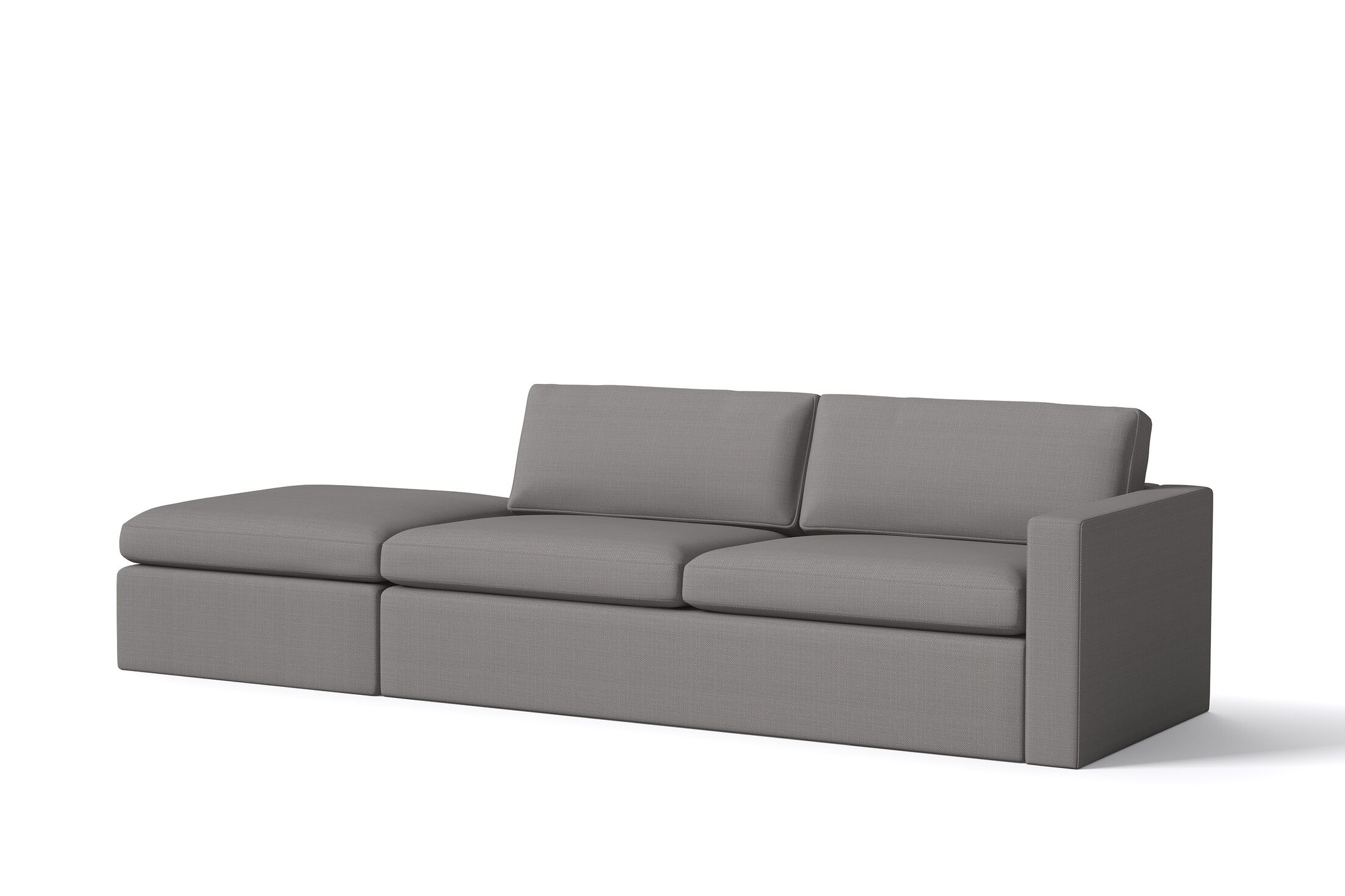 Marfa Sofa with Ottoman Sectional Orientation: Left Hand Facing, Body Fabric: Klein Sea Blue