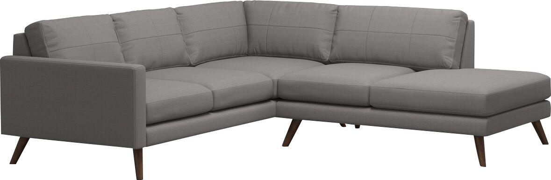 Dane Corner Sectional with Bumper Body Fabric: Klein Dolphin, Leg Color: Espresso, Orientation: Right Hand Facing