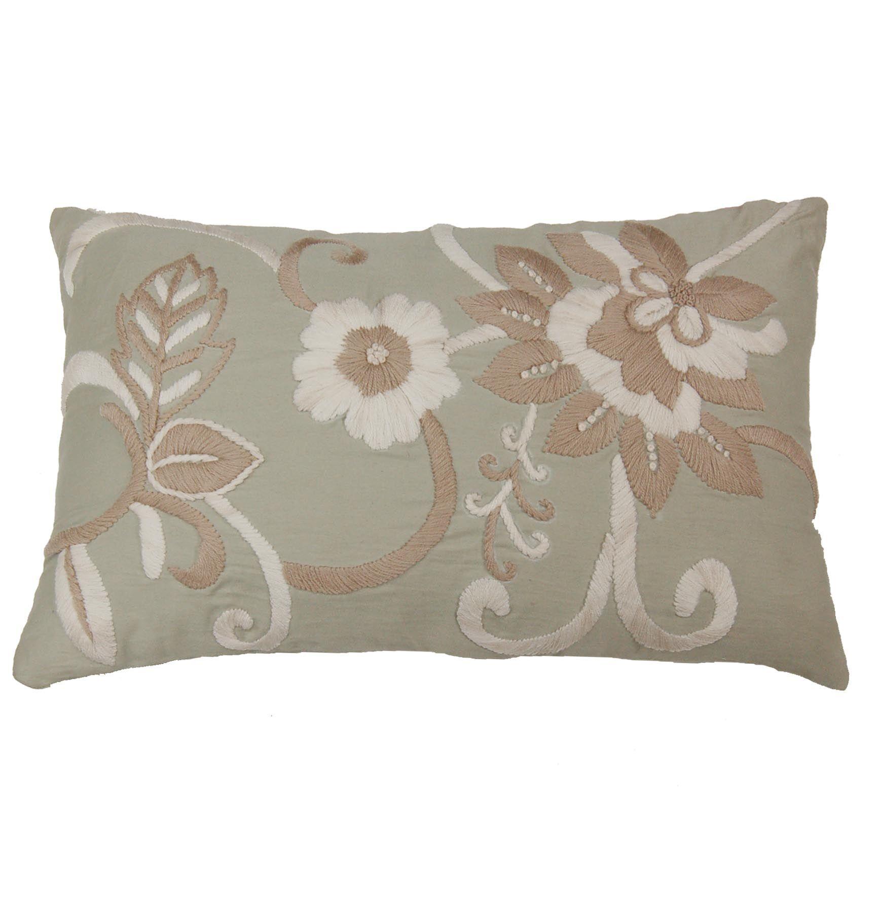 Hand Embroidery Lumbar Pillow