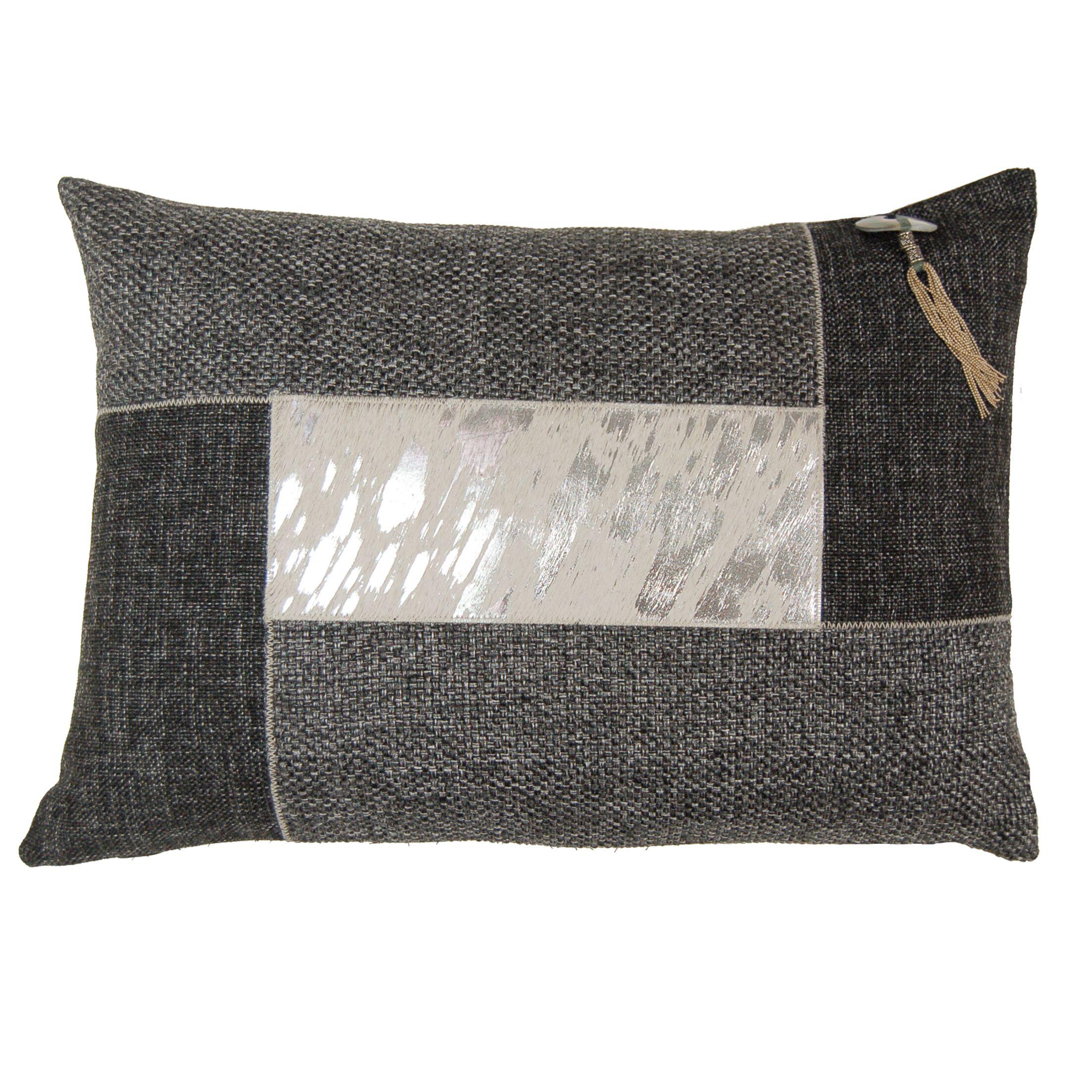 Foiled Hairon Leather Lumbar Pillow