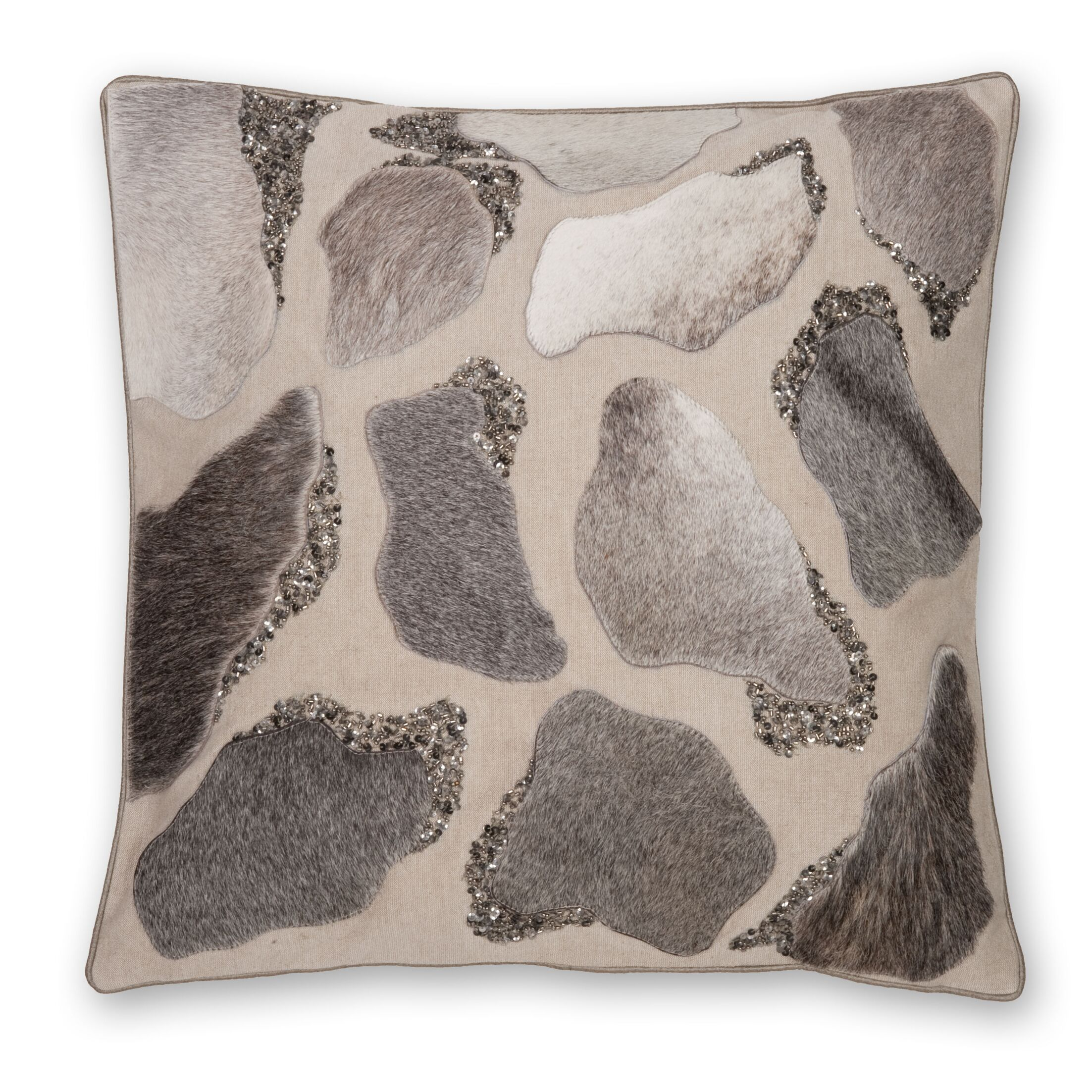 Laser Cut Hairon Leather Throw Pillow