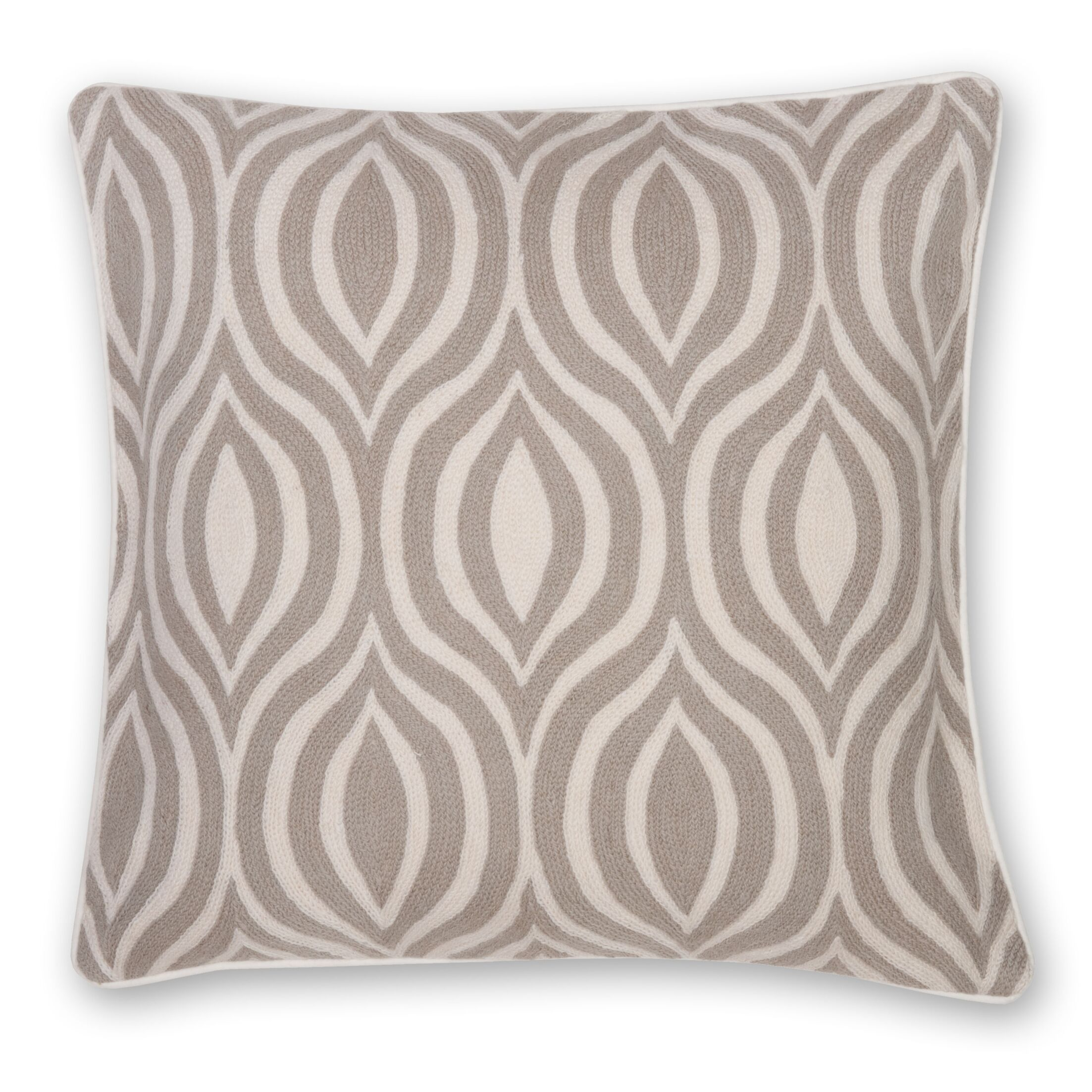 Hand Embroidery Throw Pillow Color: Natural