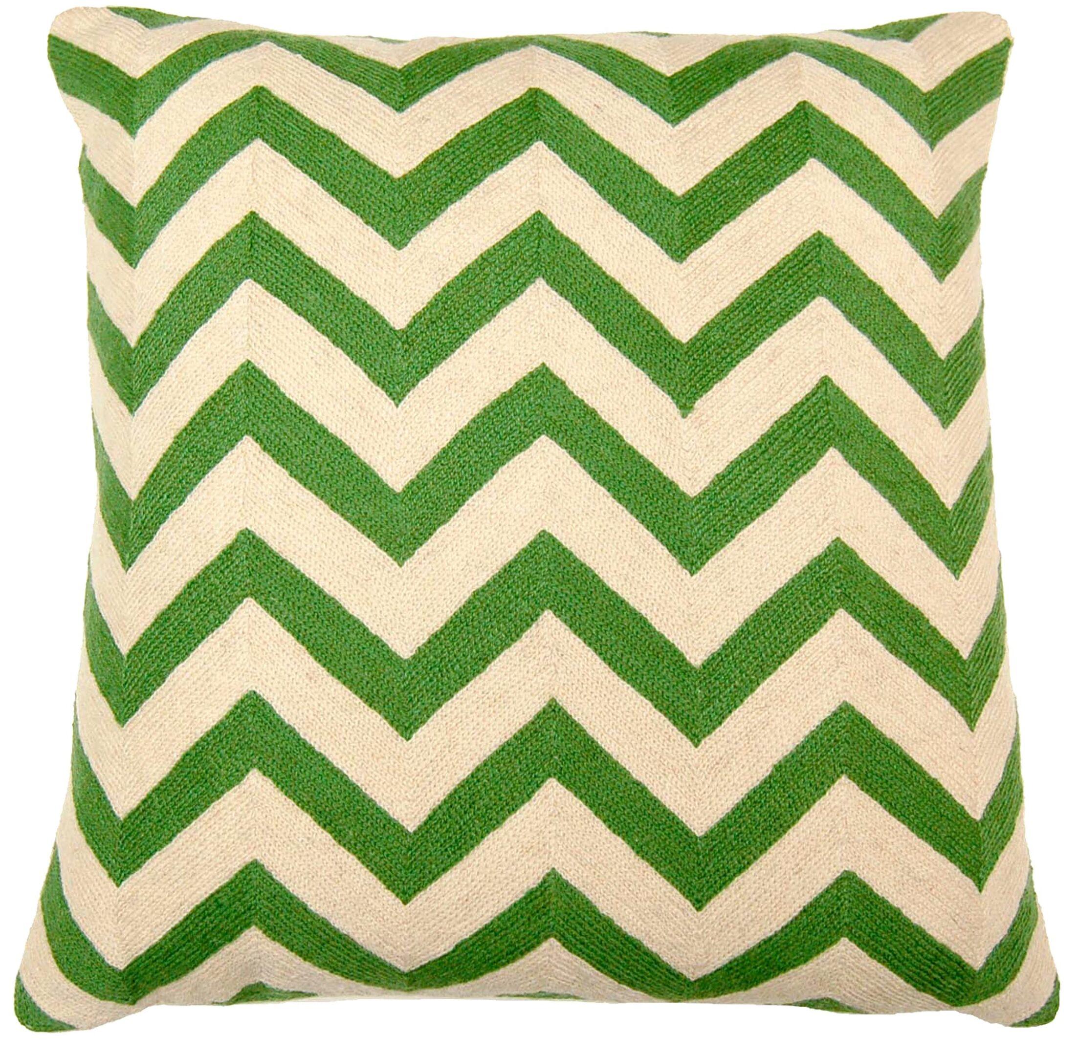 Chevron Hand Embroidery Throw Pillow Color: Green