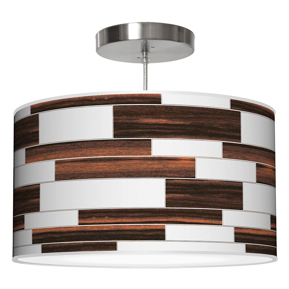 Tile 3 Drum Pendant Shade Color: Ebony, Size: 12