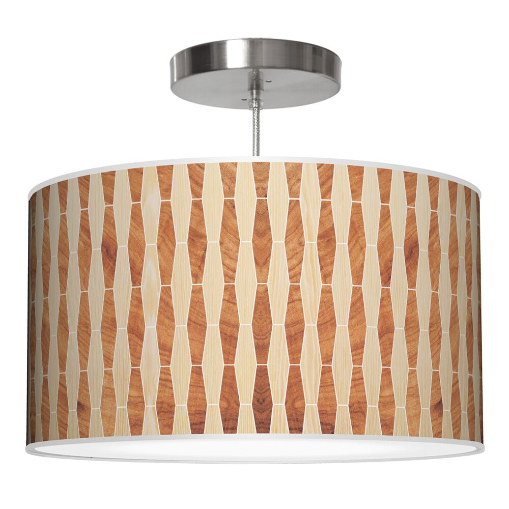 Weave 2 Drum Pendant Shade Color: Oak / Mahogany, Size: 12