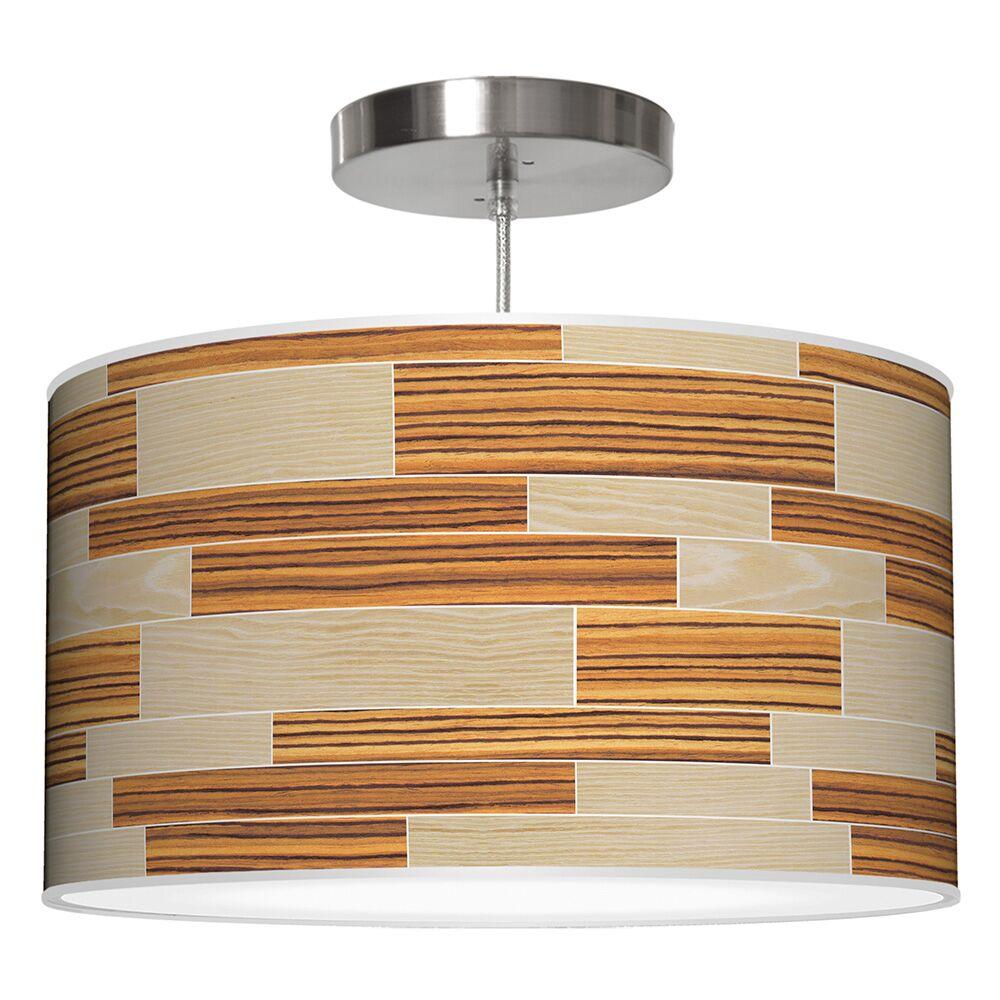 Tile 4 Drum Pendant Shade Color: Oak / Zebrawood, Size: 12