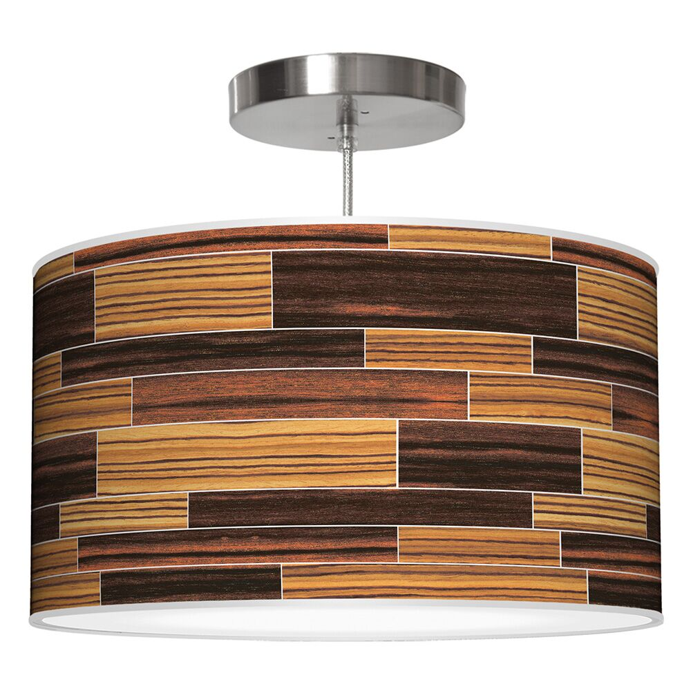 Tile 4 Drum Pendant Shade Color: Zebrawood / Ebony, Size: 12