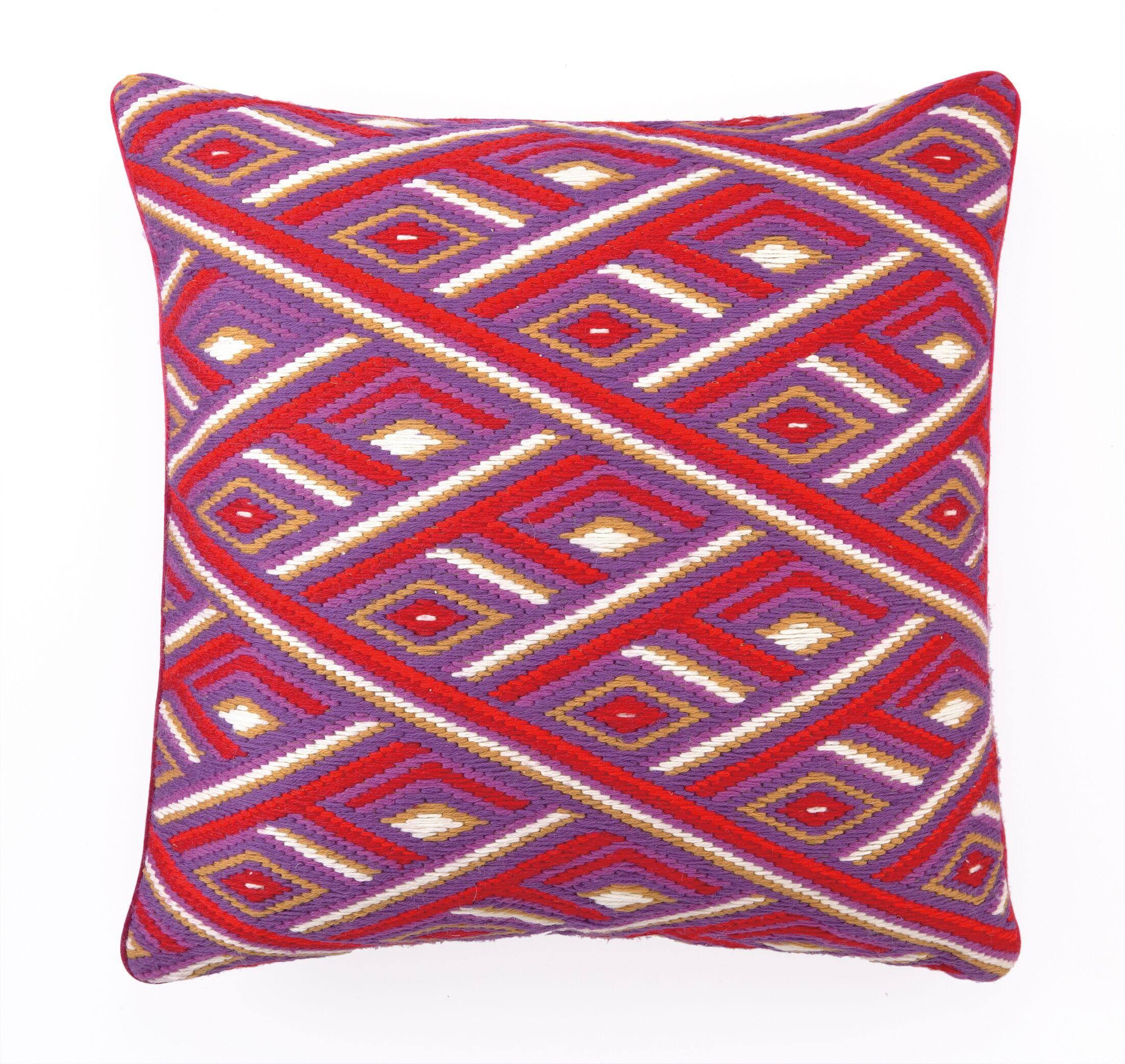 Marcella Bargello Linen Throw Pillow Color: Red