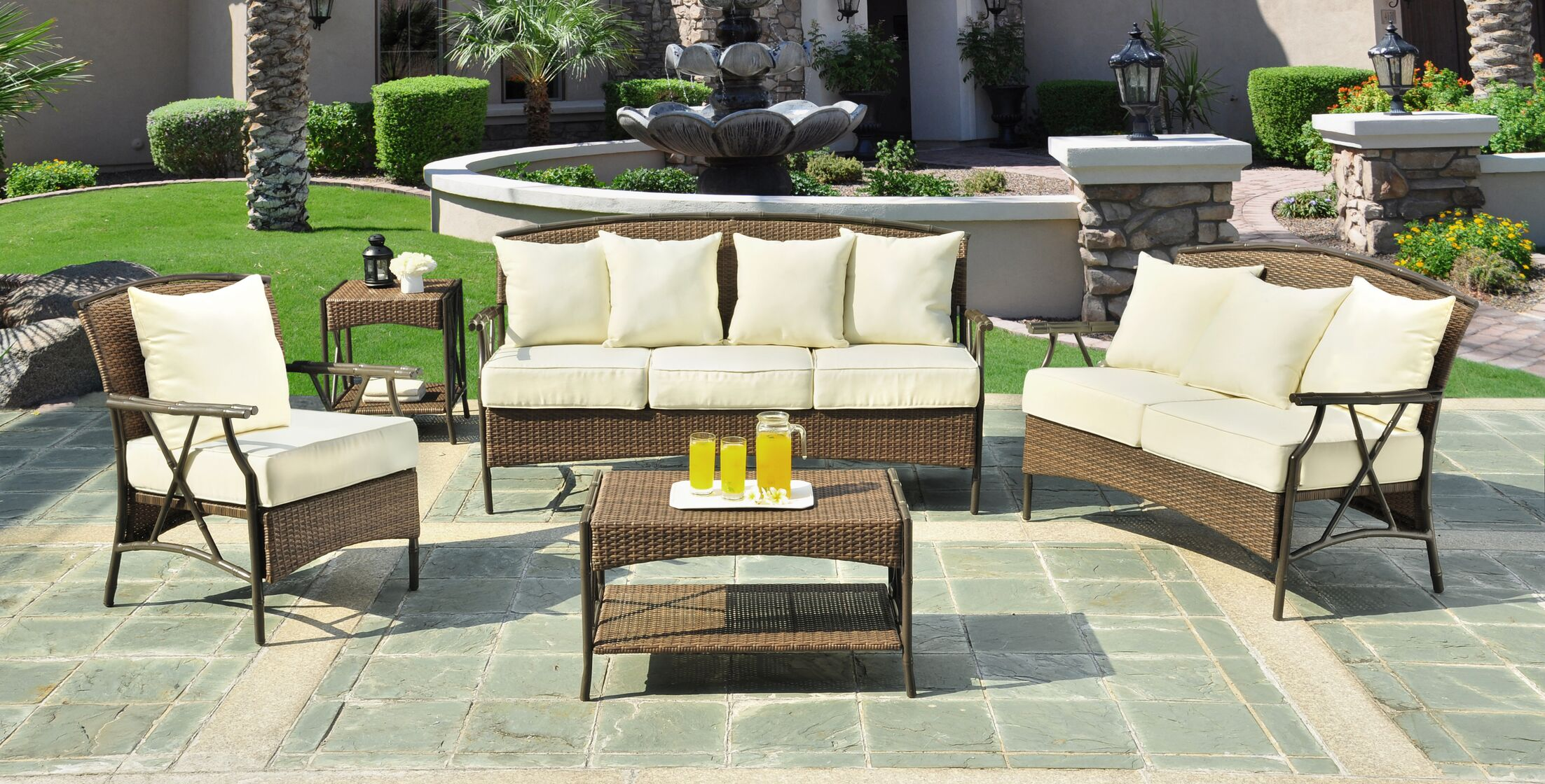 Rum Cay 5 Piece Sunbrella Sofa Set with Cushions