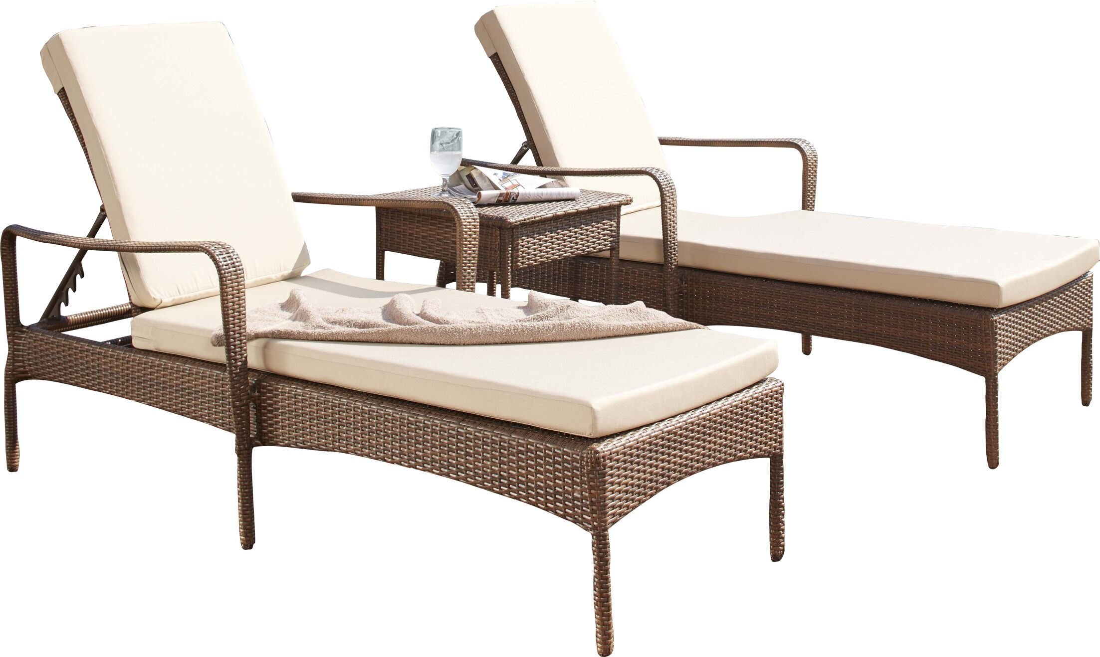 Key Biscayne Sun Lounger Set with Cushions and Table Color: Dupione Bamboo