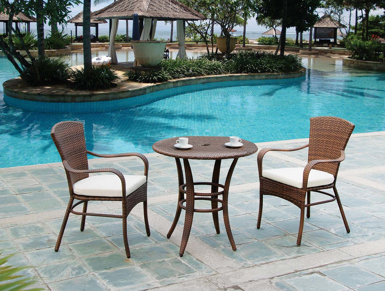 Key Biscayne 3 Piece Bistro Set with Cushions Color: Canvas Melon