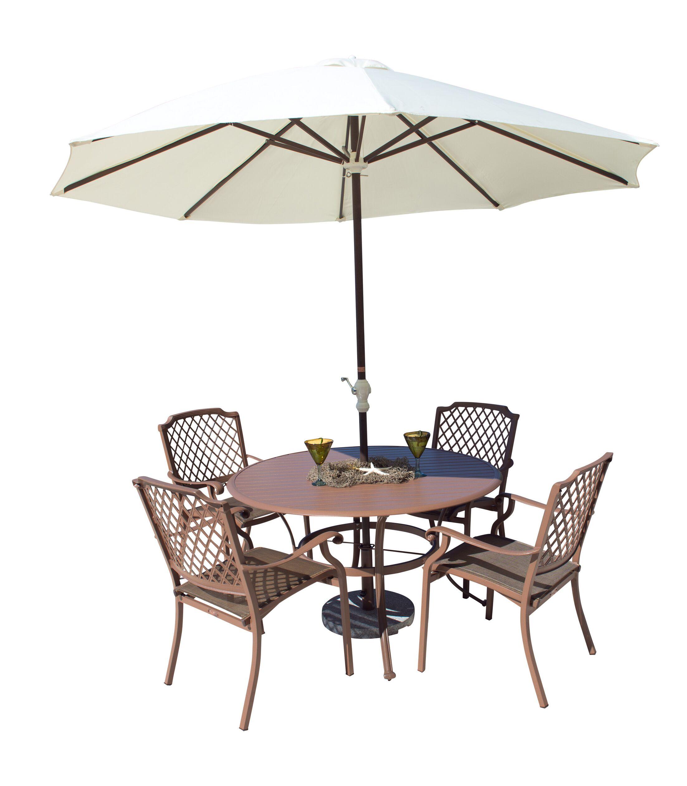 Island Breeze 5 Piece Dining Set Table Size: 42
