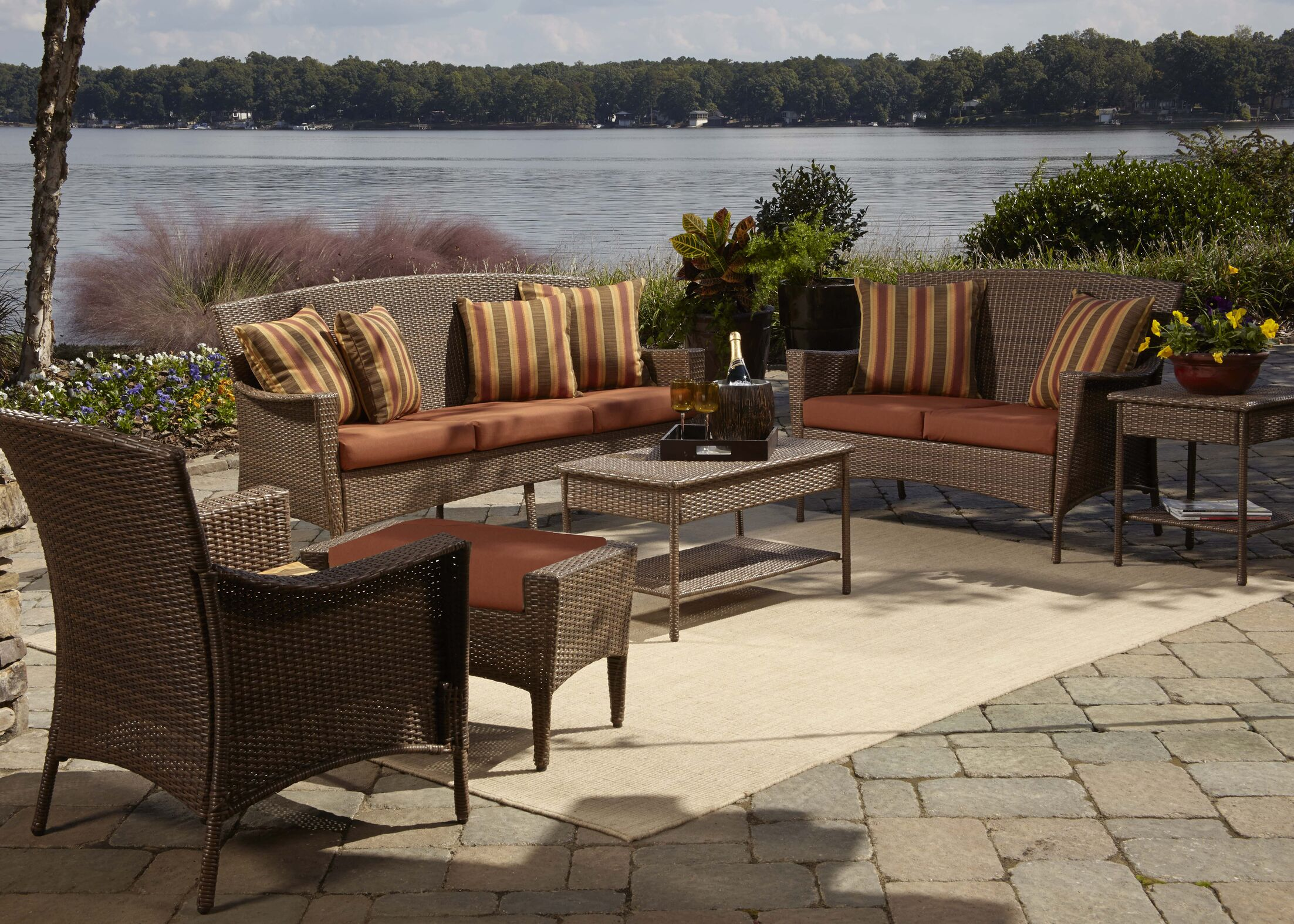 Key Biscayne 5 Piece Sofa Seating Group with Cushions Fabric: Dimone Palm