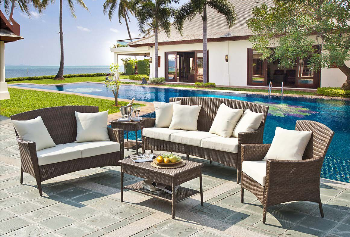 Key Biscayne 5 Piece Sofa Seating Group with Cushions Fabric: Canvas Natural