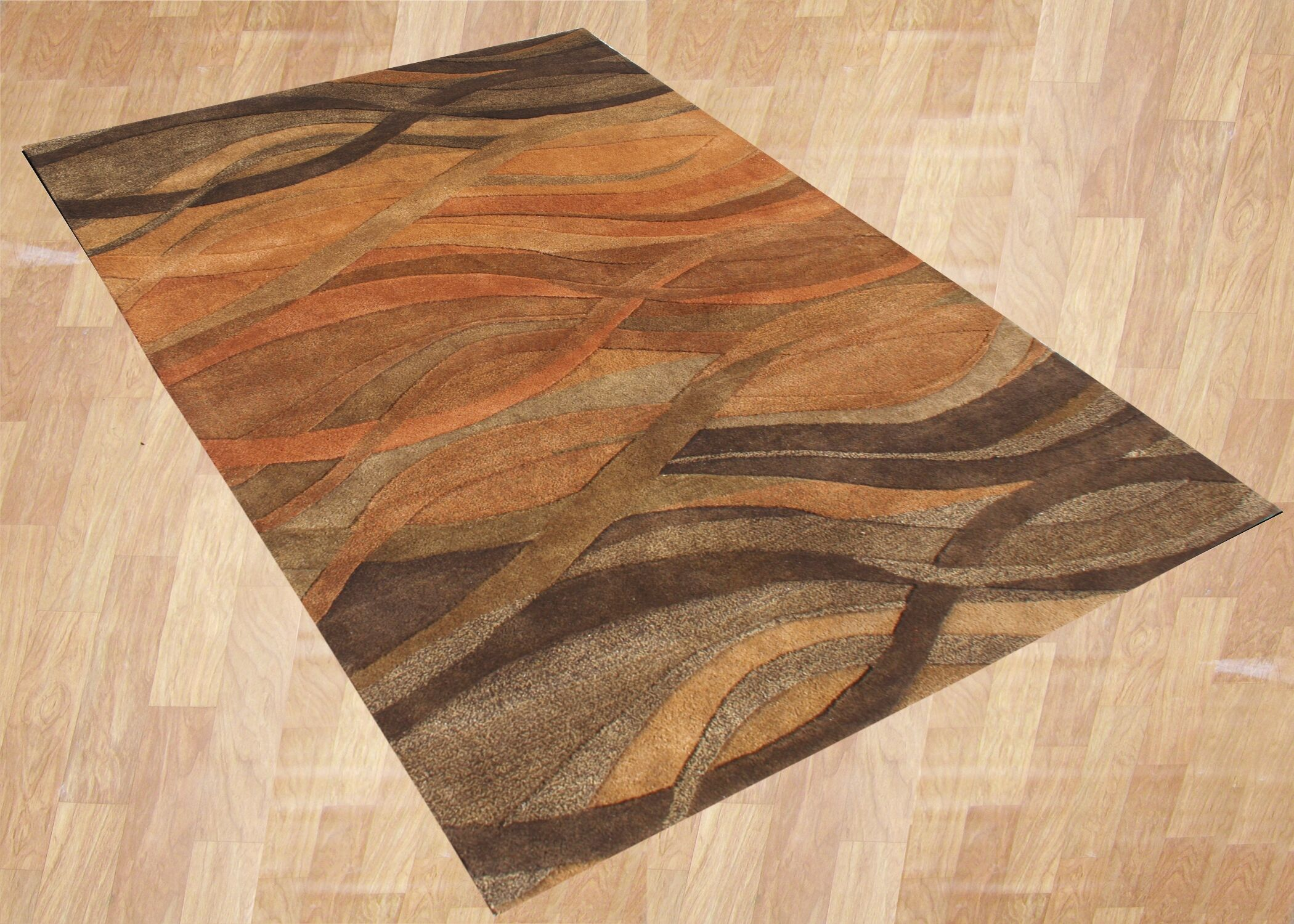 Alliyah Abstract Brown/Tan Area Rug Rug Size: Round 10'