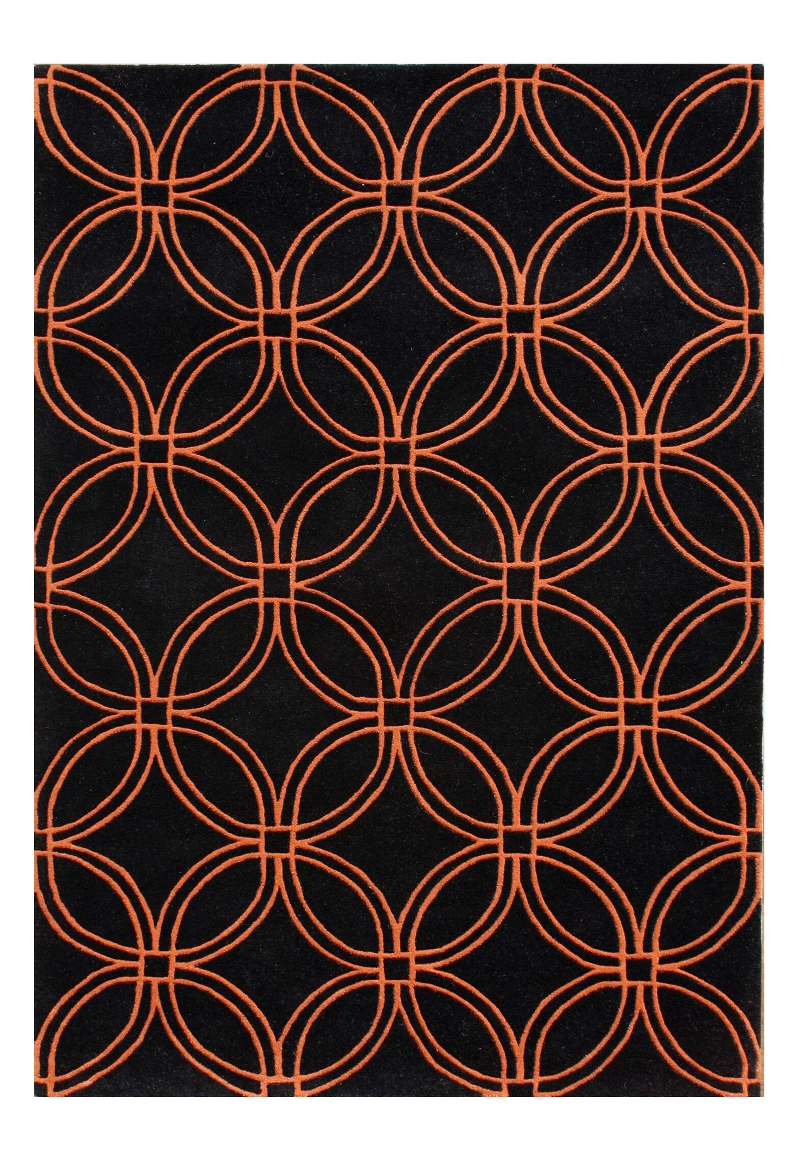 Alliyah Black/Orange Area Rug Rug Size: 5' x 8'