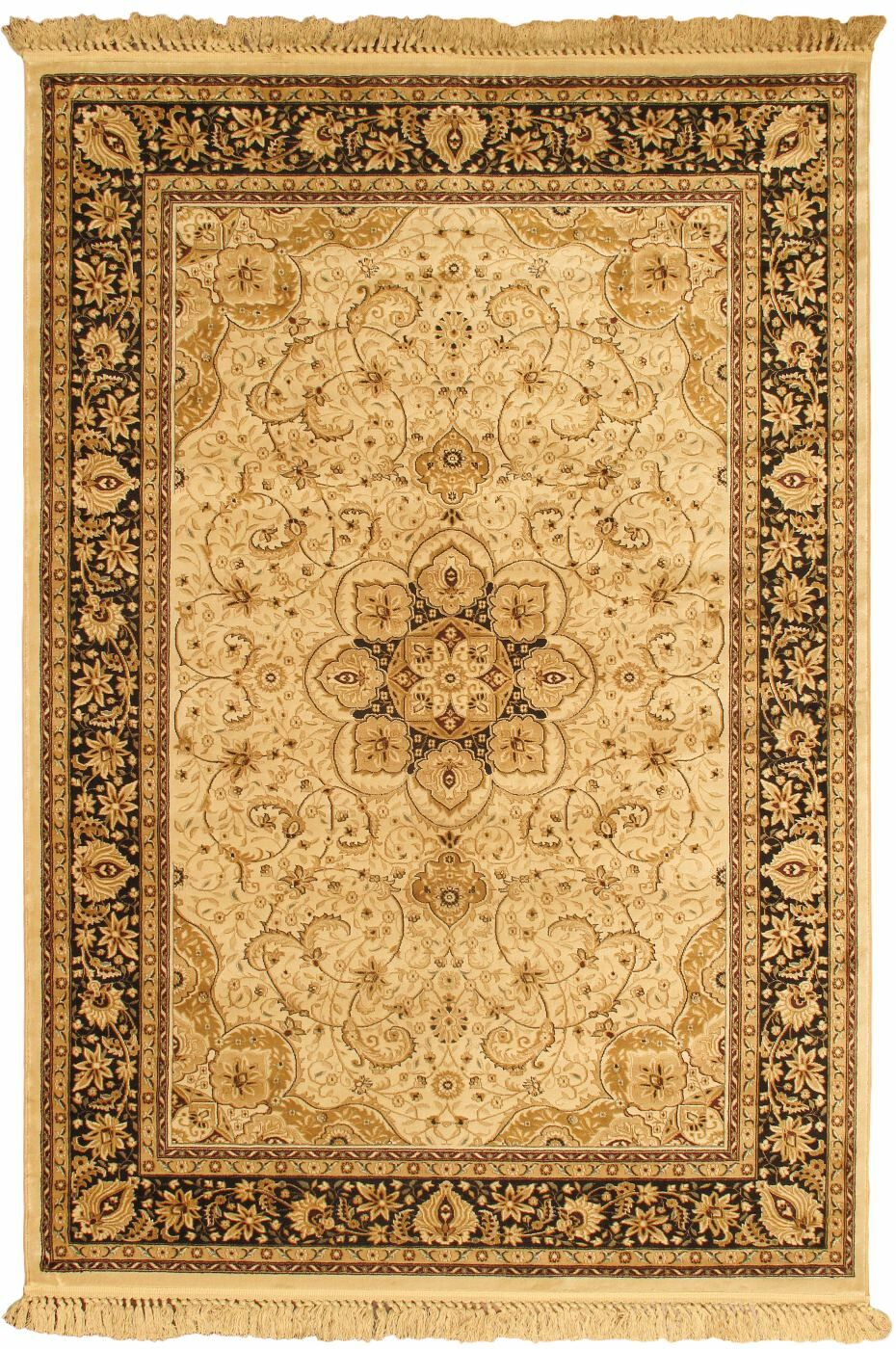 Brown Medallion Qum Kashmir Area Rug