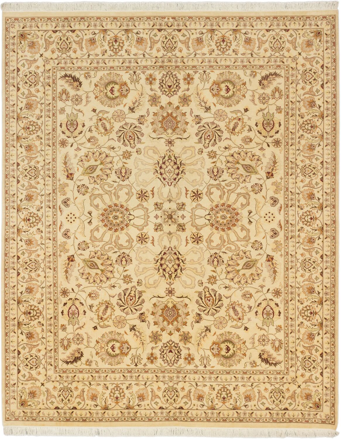 Peshawar Finest Hand-Knotted Wool Cream Area Rug
