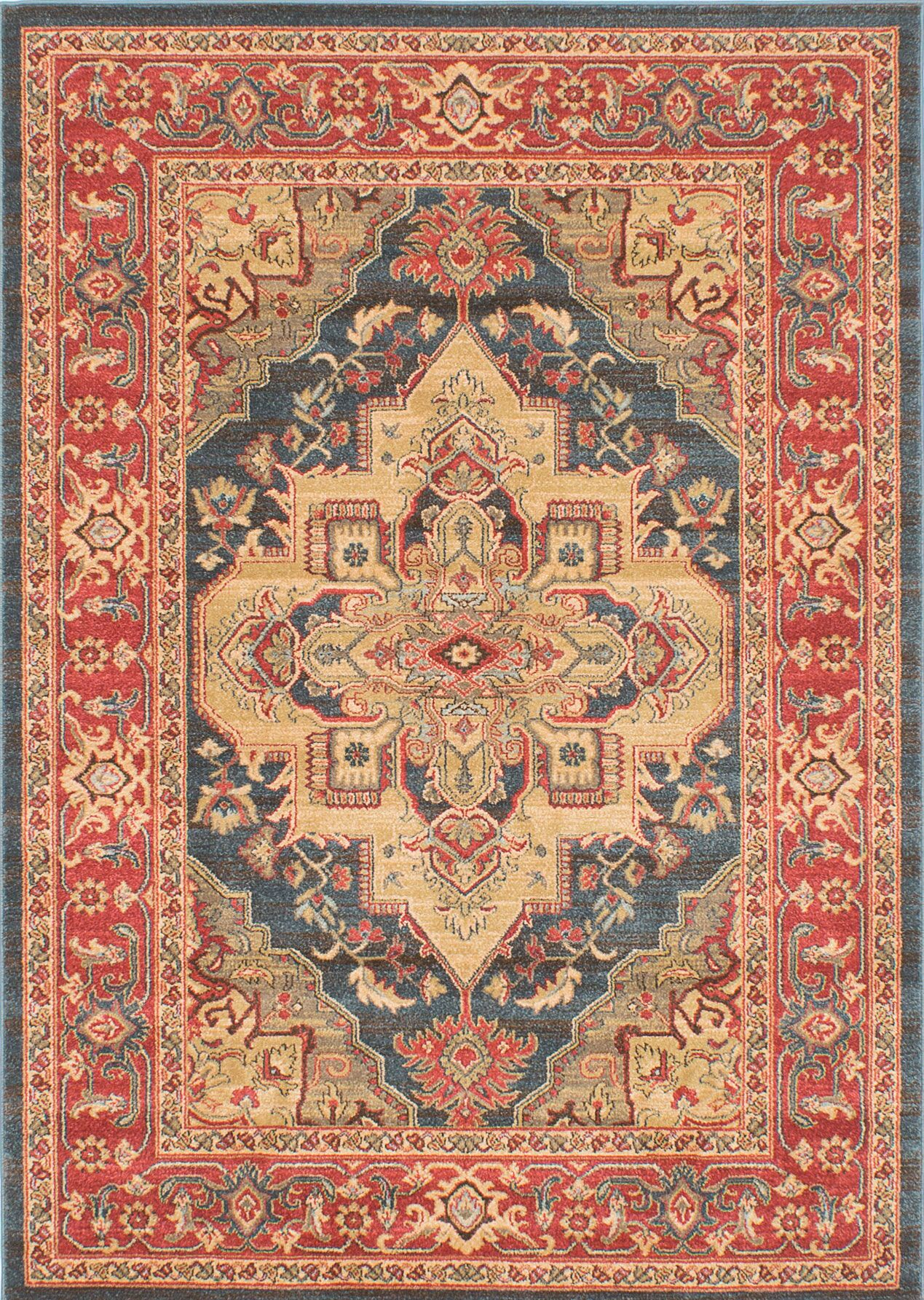 Reinoso Navy/Red Area Rug Rug Size: Rectangle 5' x 7'