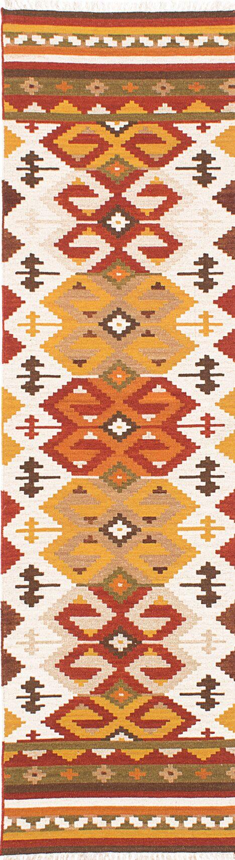 Izmir Handwoven Flatweave Wool Beige/Yellow Area Rug